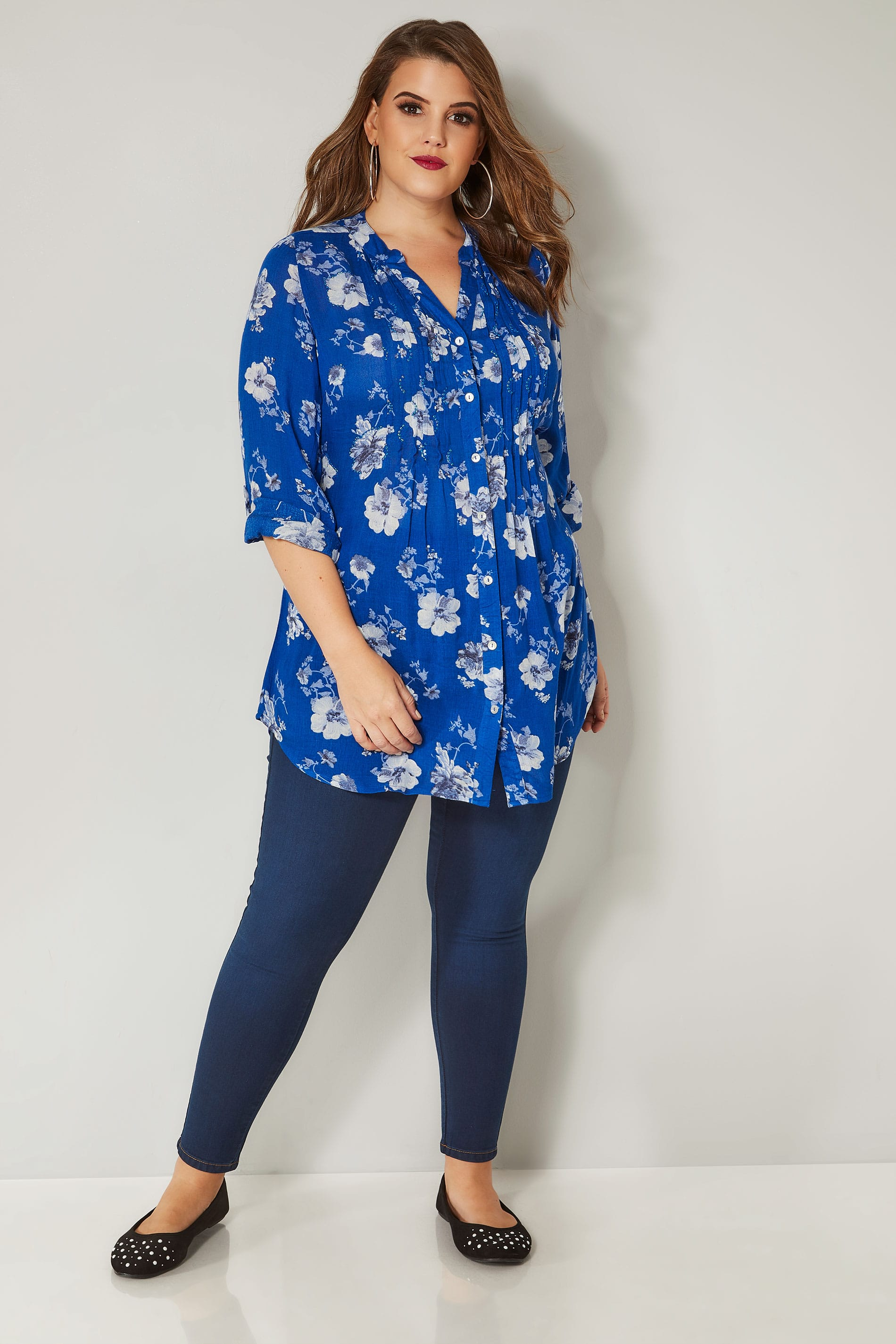 cobalt blue floral pintuck longline blouse with sequin detail  plus size 16 to 36