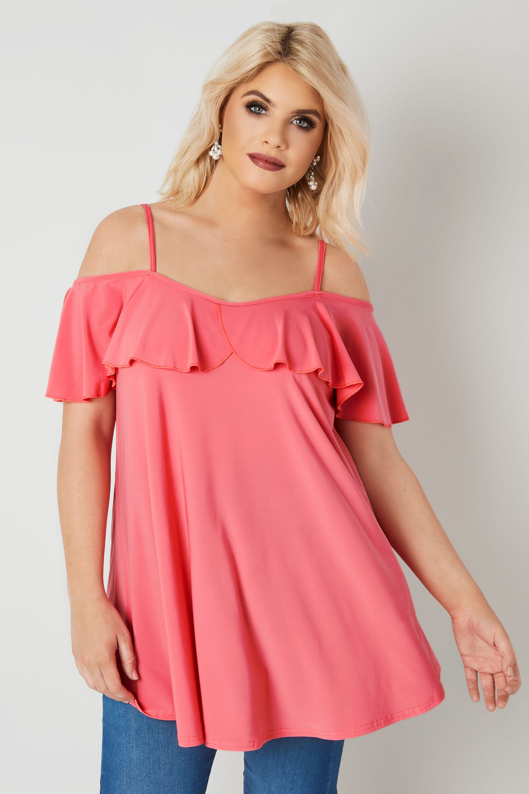 fff79bbaa1d8b2 Coral Pink Slinky Jersey Frill Cold Shoulder Top, Plus size 16 to 36