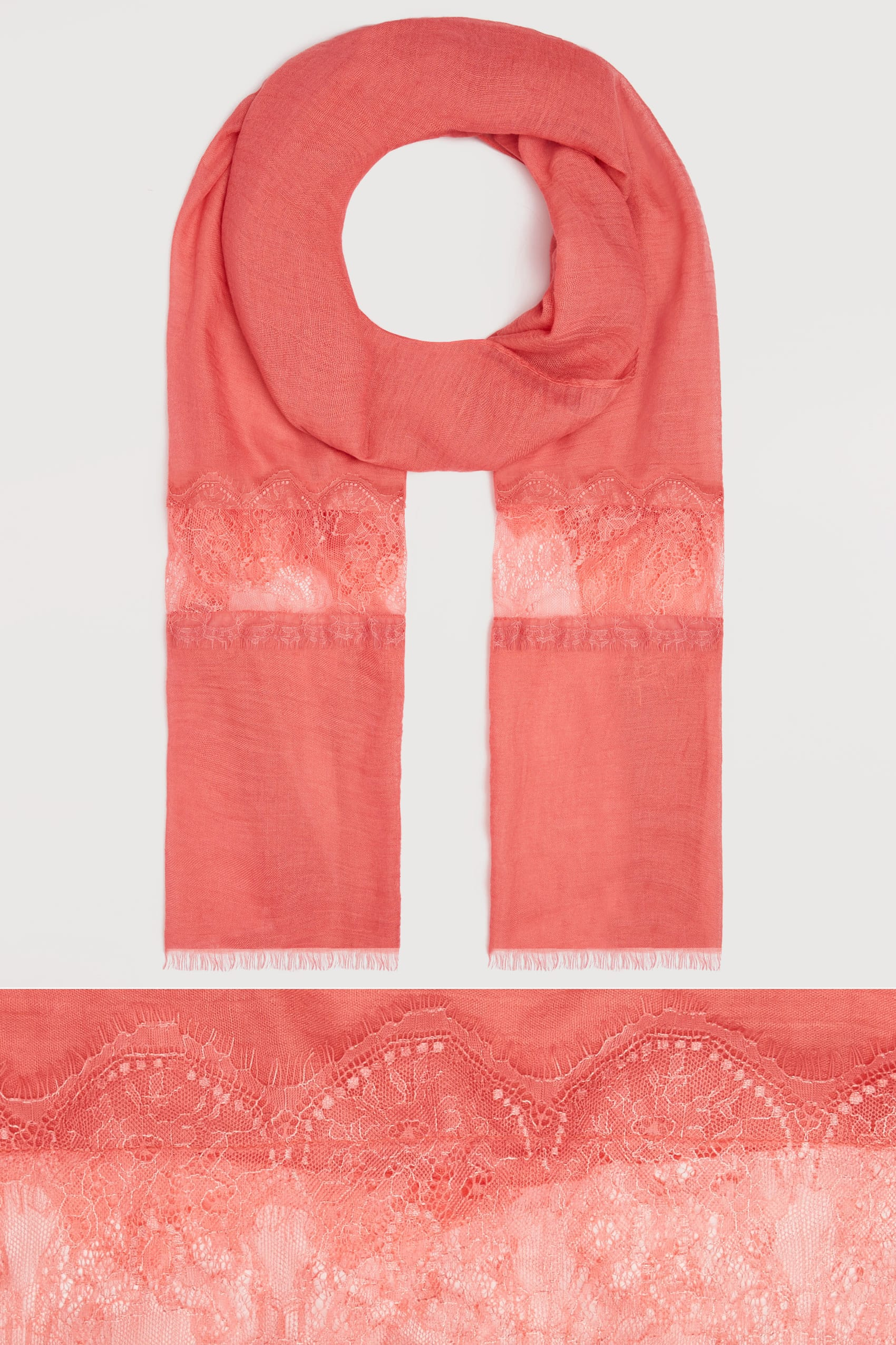Coral scarf with lace insert for Buy here pay later