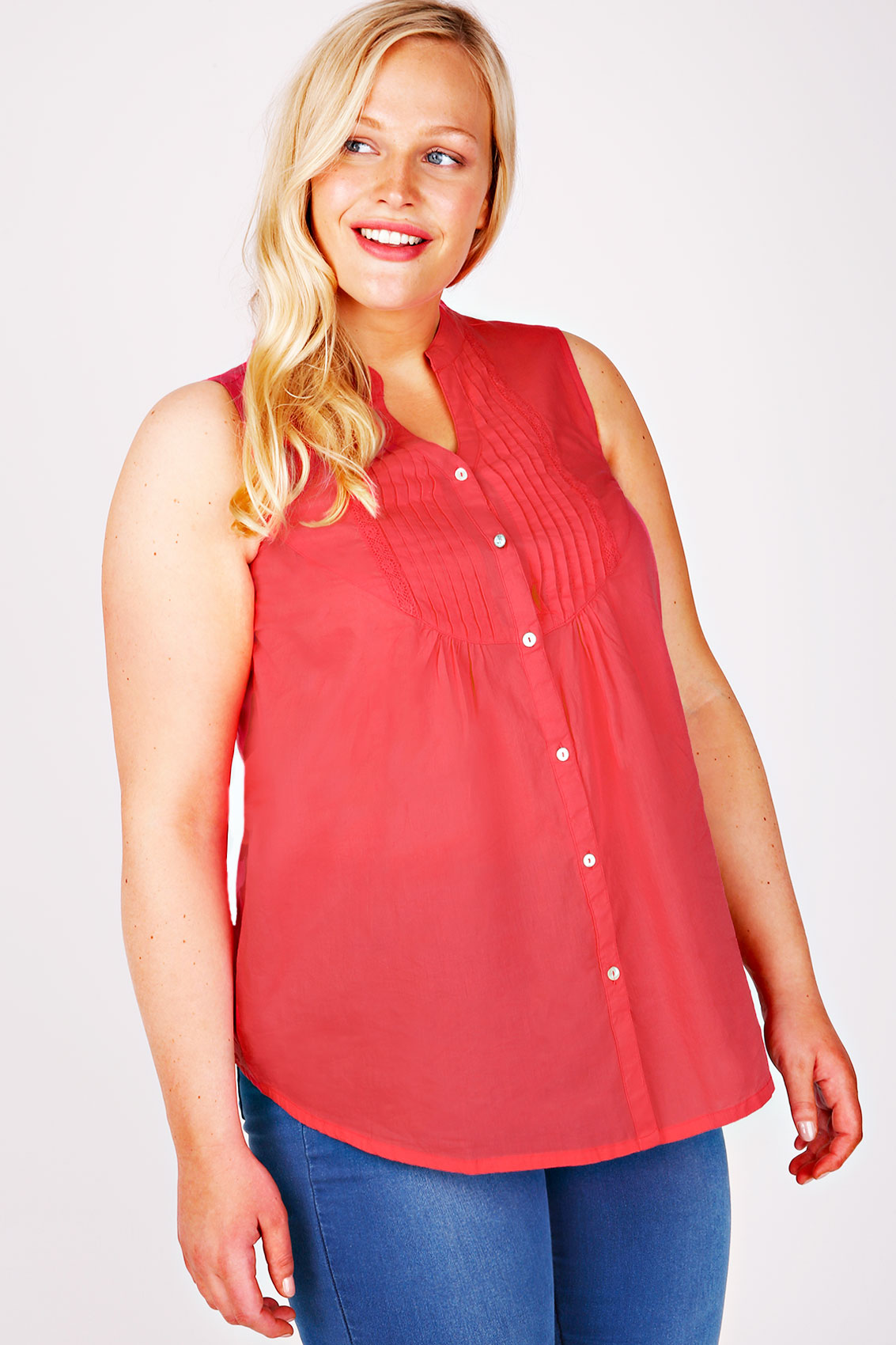 Coral Sleeveless Blouse 11