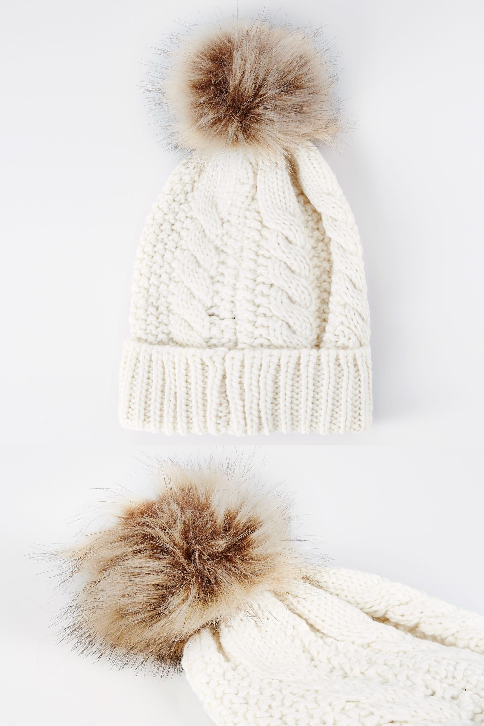 Cream cable knit hat with pom pom for Buy here pay later
