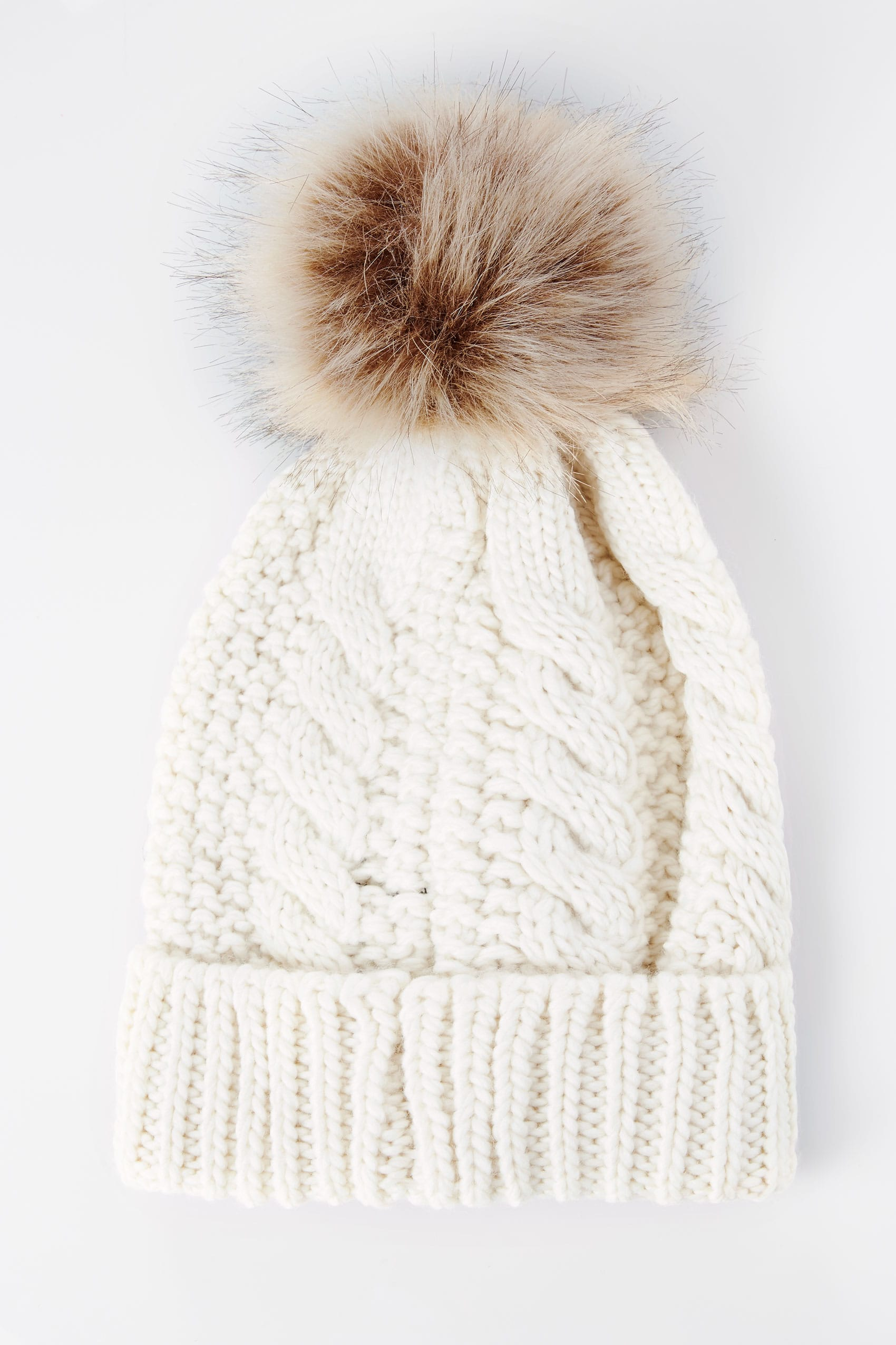 Cream Cable Knit Hat With Pom-Pom 7d30d228828