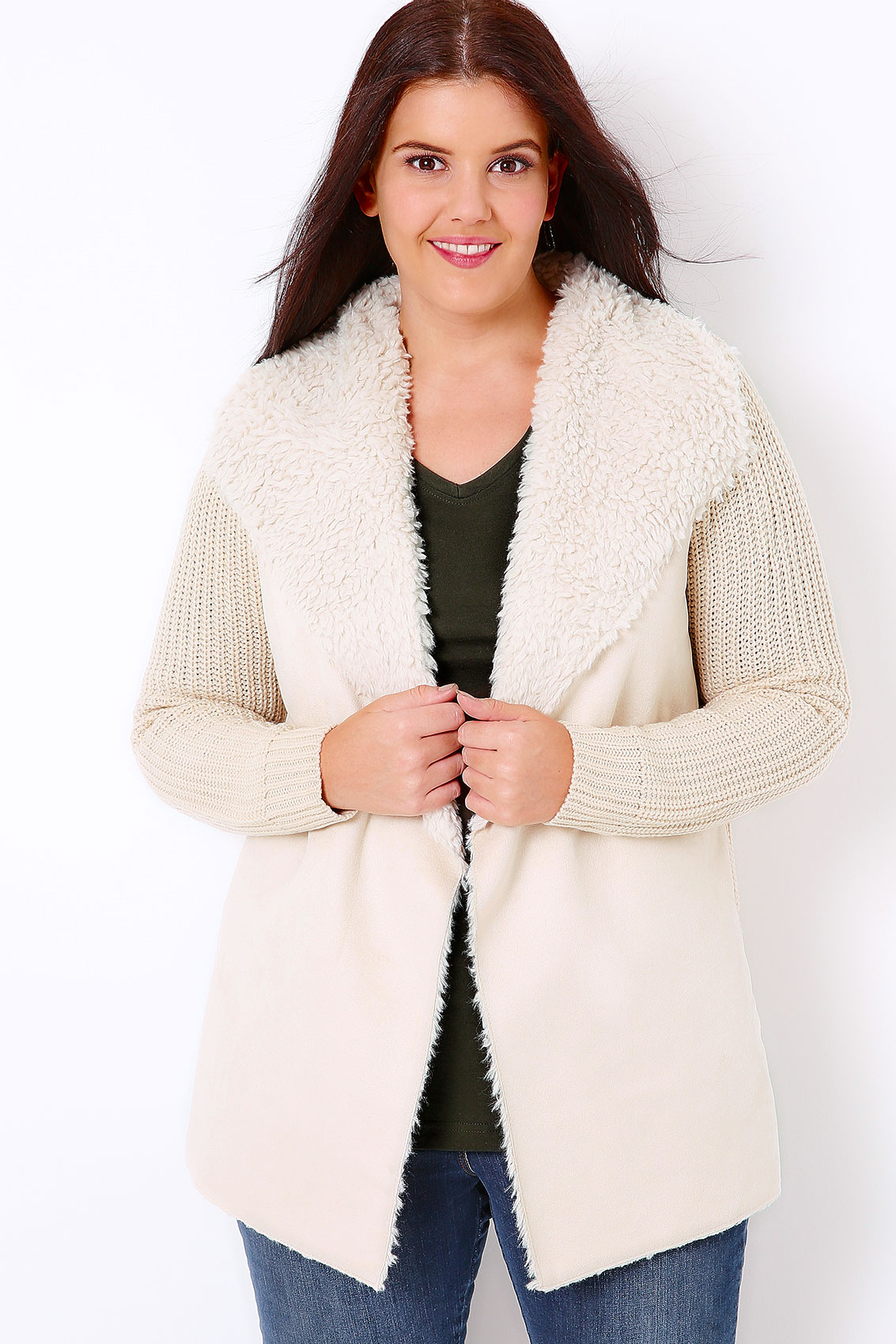 Cream Chunky Knit Cardigan With Shearling Collar Plus Size 16 to 32