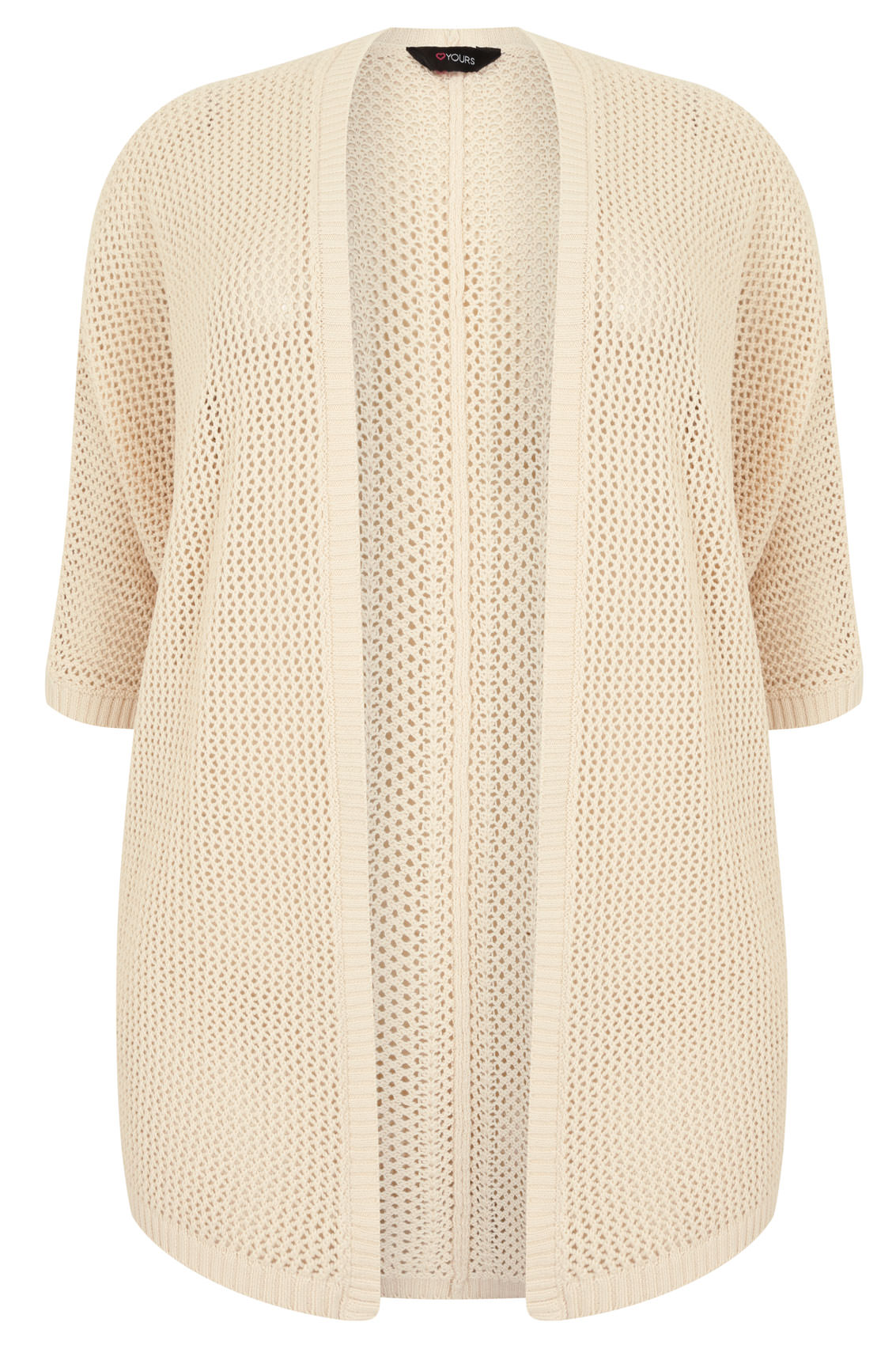 Cream Open Knit Cocoon Cardigan With Half Sleeves, Plus size 16 to 36