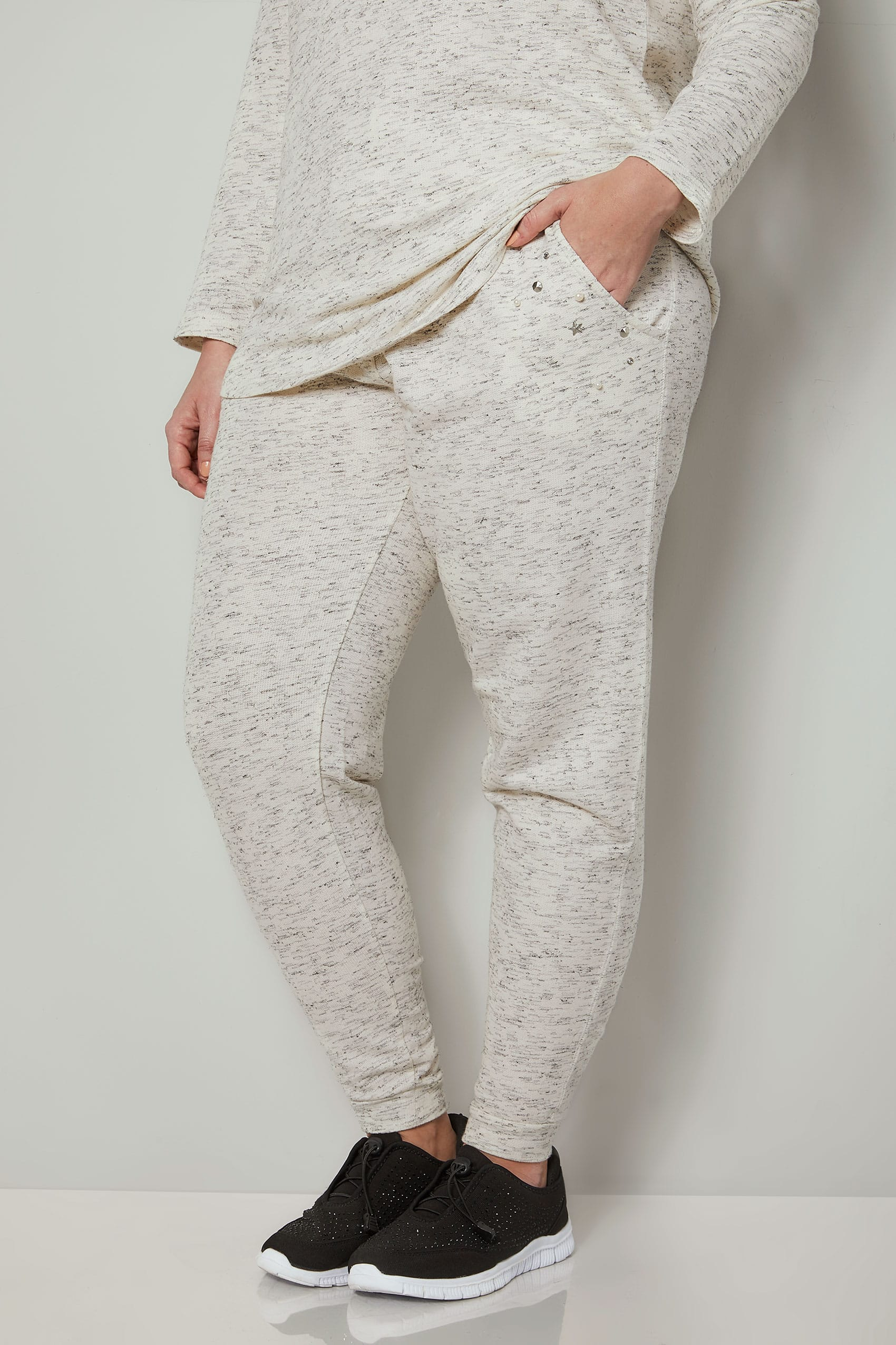 Cream Joggers With Faux Pearl Embellishment Plus Size 16