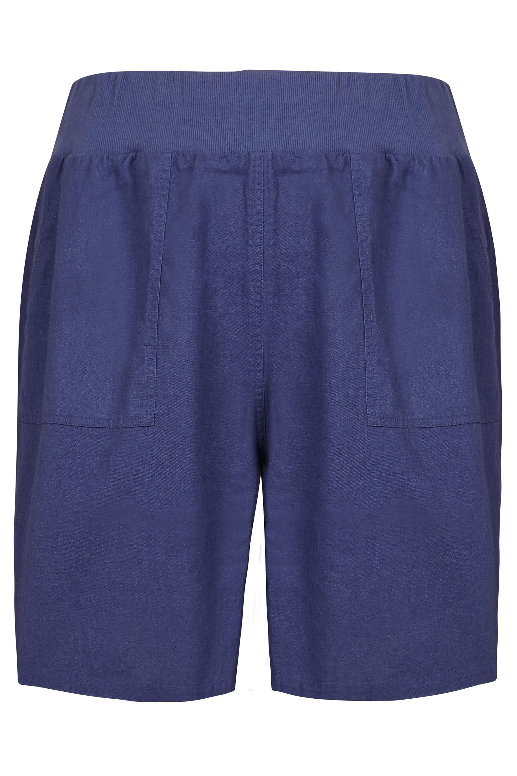 Dark Blue Linen Mix Pull On Shorts With Pockets Plus Size