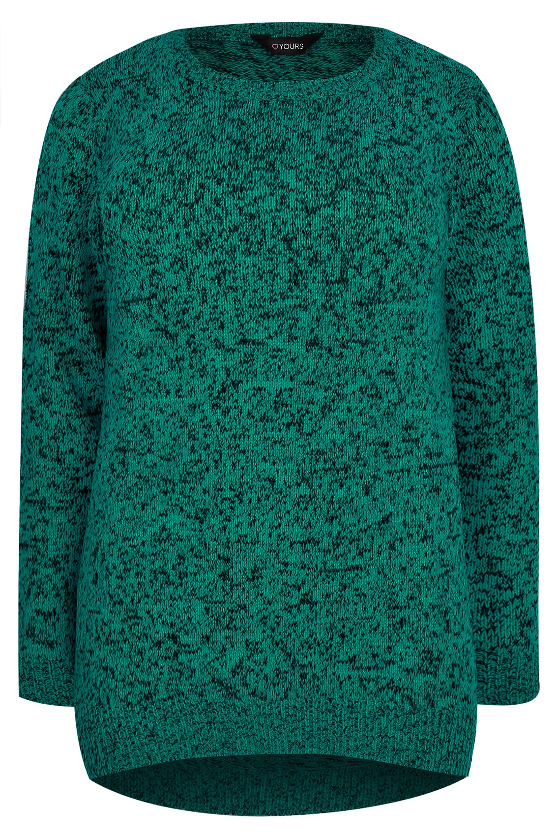 Dark Green Textured Jumper With Dipped Hem Plus Size 16 To 36