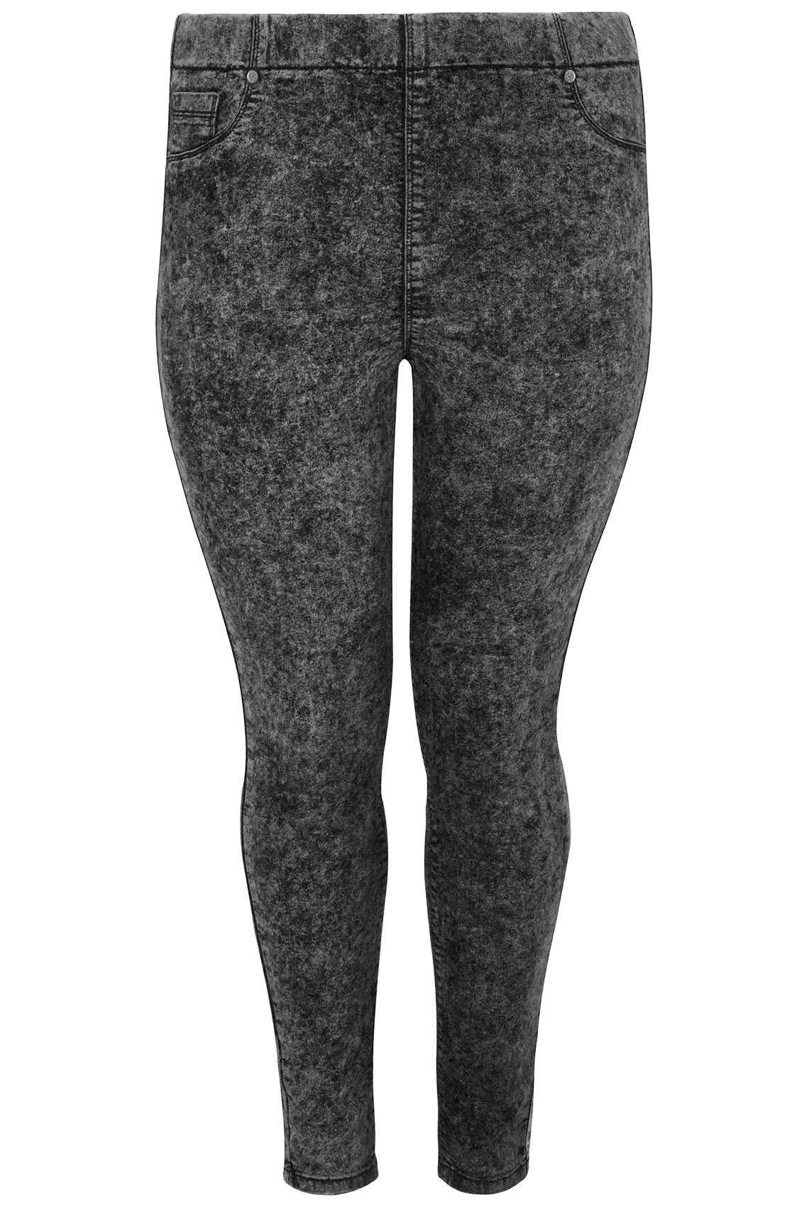 on feet images of classic enjoy bottom price Dark Grey Acid Wash Pull On Stretch Jeggings
