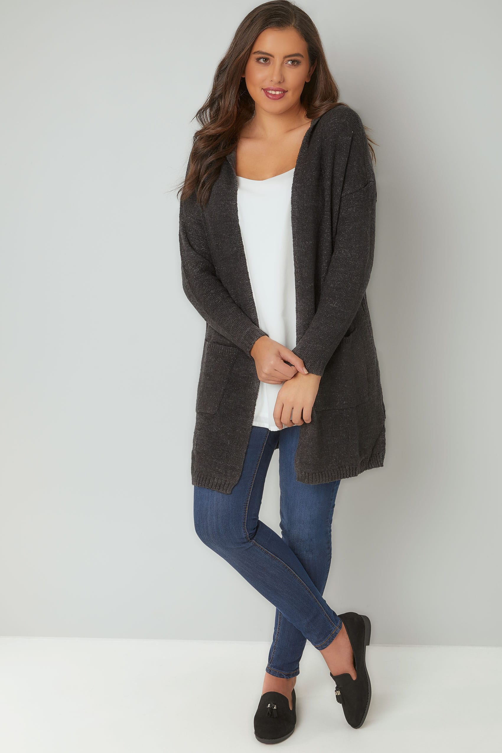 Dark Grey Hooded Cardigan With Pockets, Plus size 16 to 36