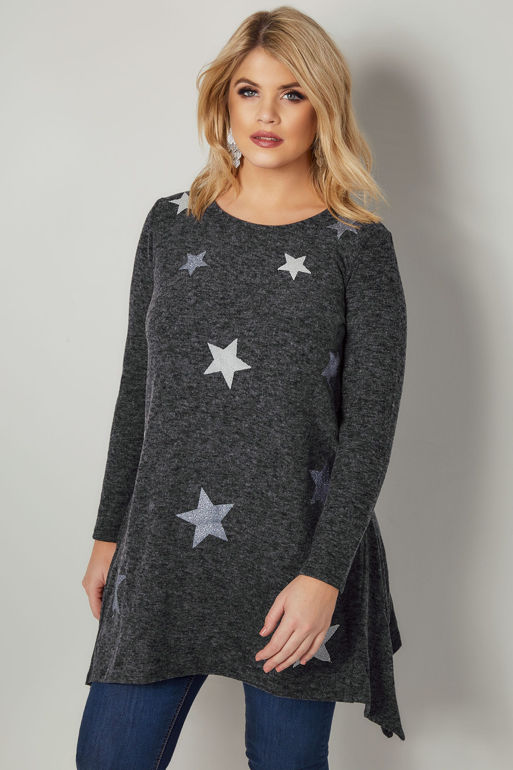 dark grey textured star print longline knitted top with hanky hem plus size 16 to 36. Black Bedroom Furniture Sets. Home Design Ideas