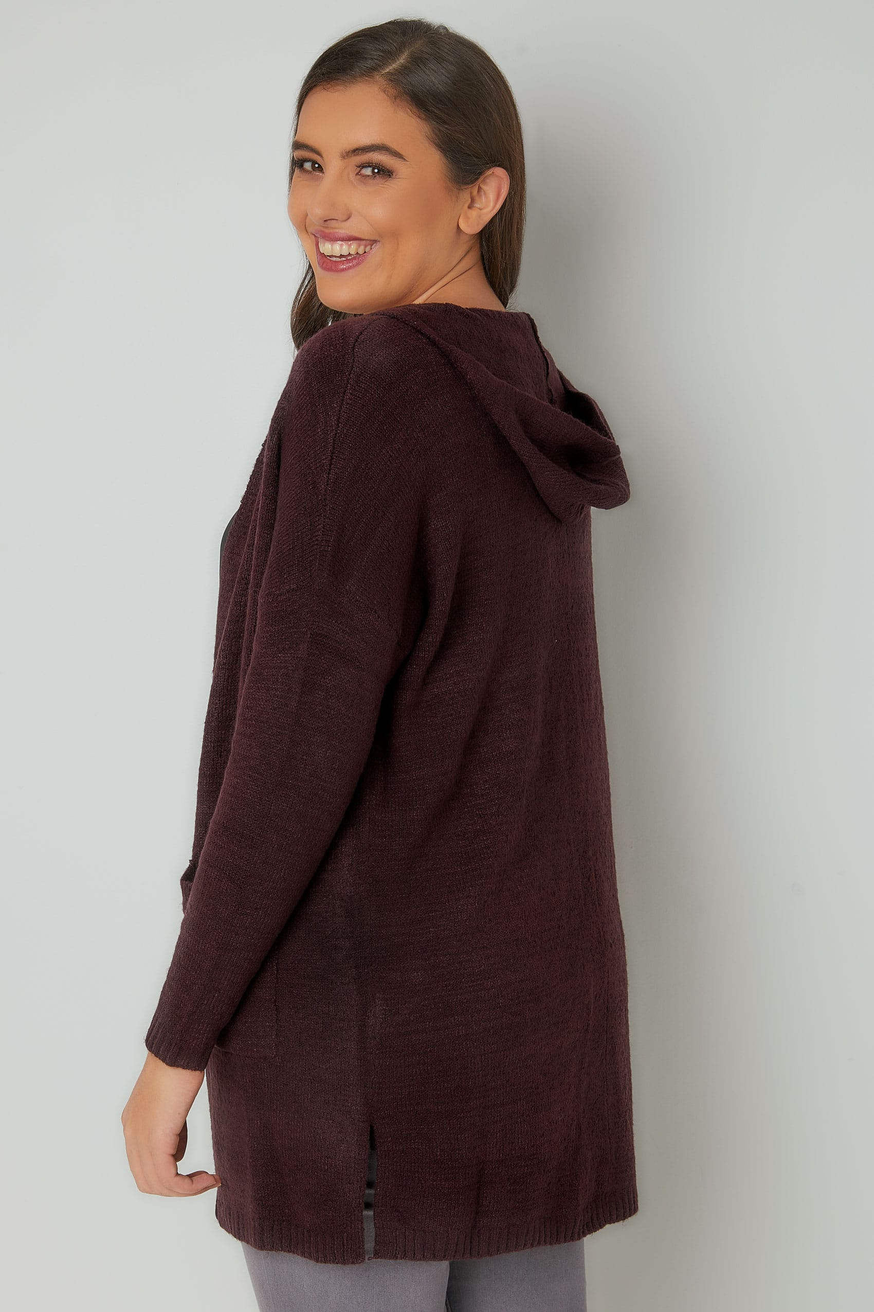 Dark Purple Hooded Cardigan With Pockets, Plus size 16 to 36