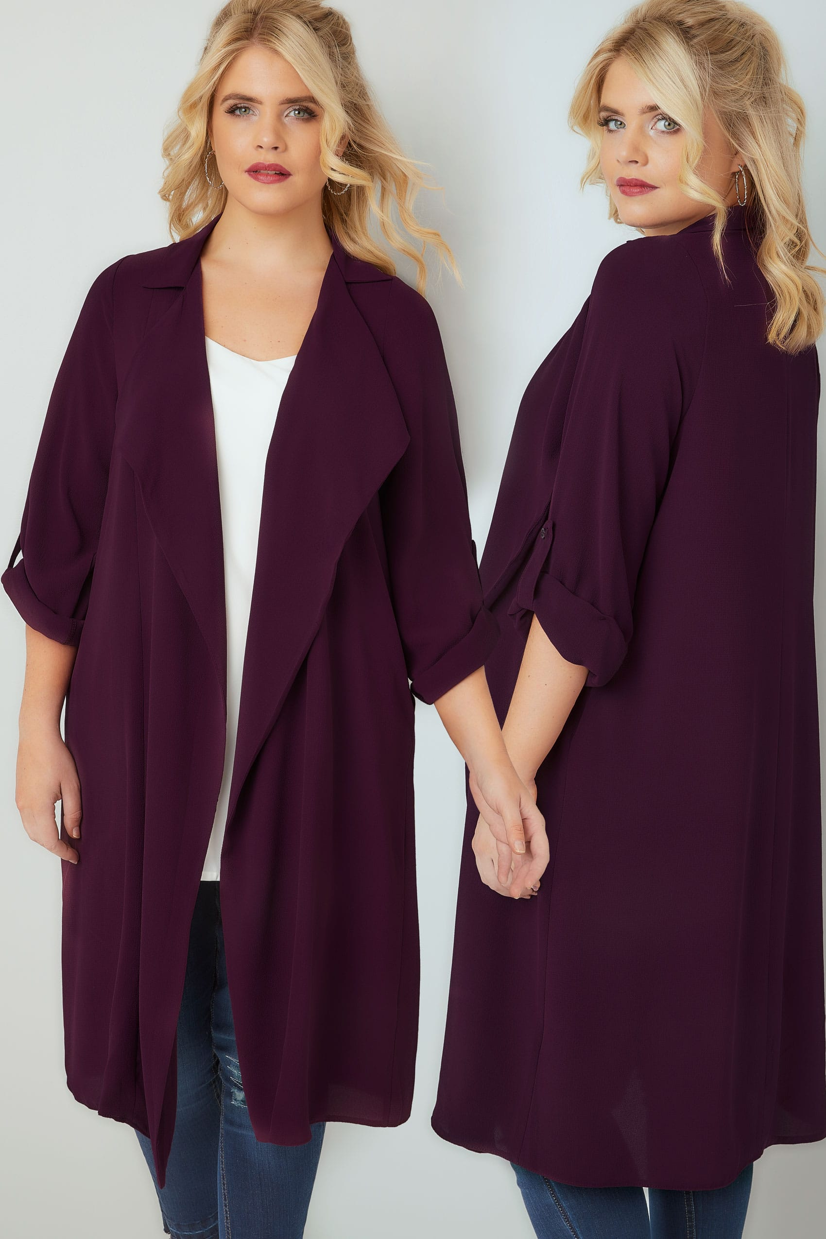 Dark Purple Lightweight Duster Jacket With Waterfall Front & Roll ...