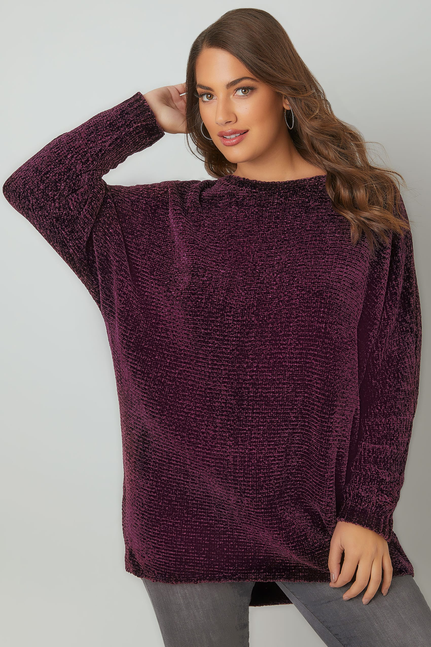 Dark Purple Ribbed Chenille Batwing Jumper Plus Size 16 To 36