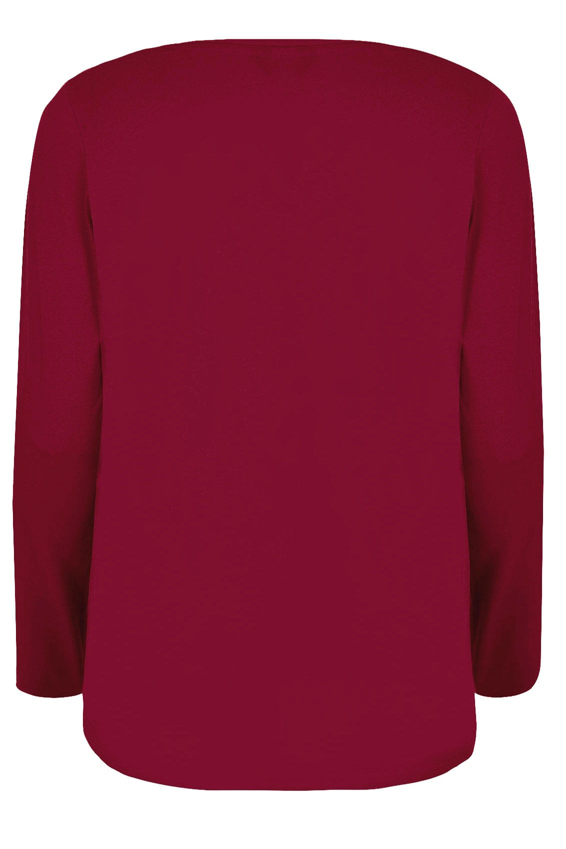 Dark red long sleeved v neck jersey top plus size 16 to 36 for Dark blue v neck t shirt