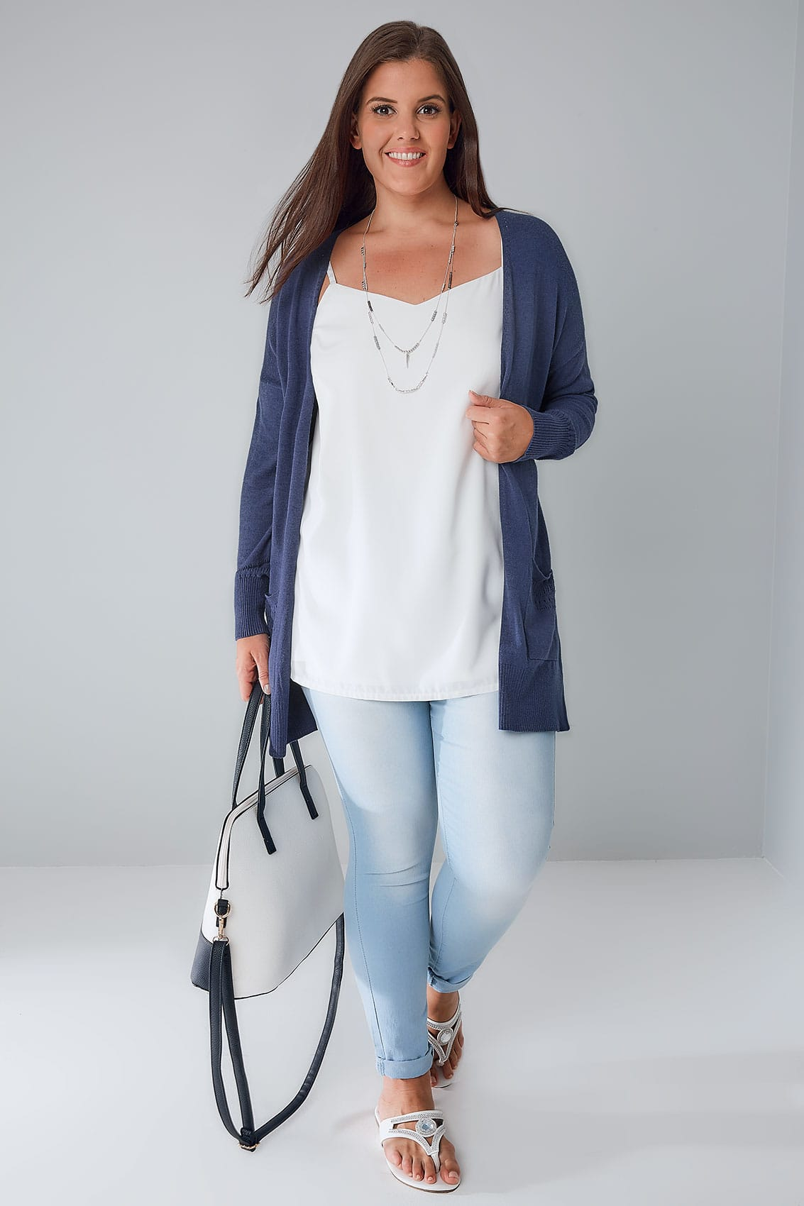 Denim Blue Longline Cardigan With Pointelle Pocket & Cuff Detail ...