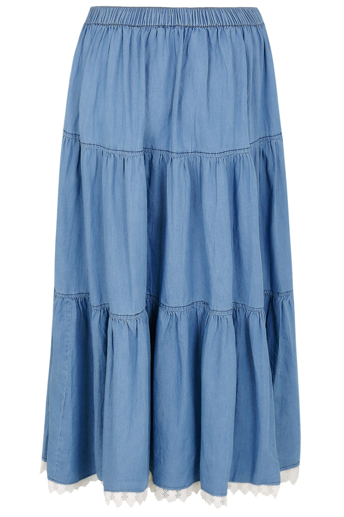 denim blue tiered maxi skirt with lace trim hem plus size 16 to 36. Black Bedroom Furniture Sets. Home Design Ideas