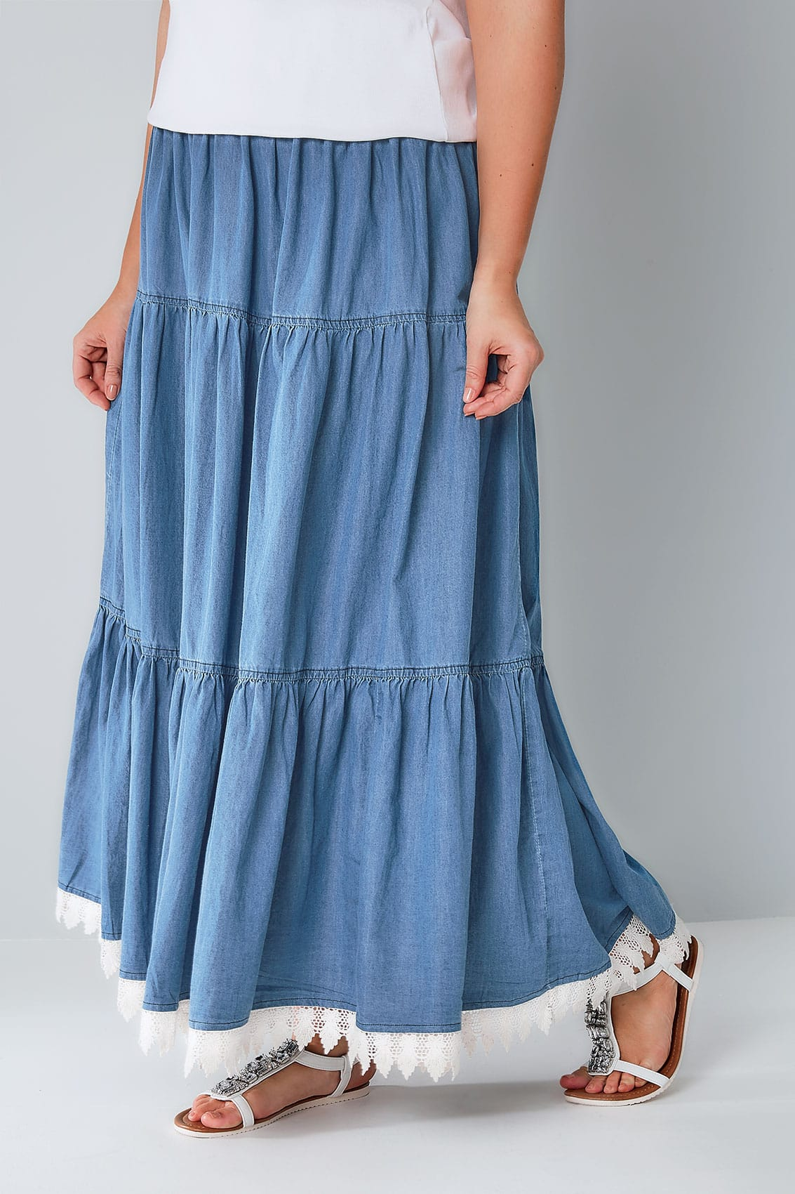 denim blue tiered maxi skirt with lace trim hem plus size