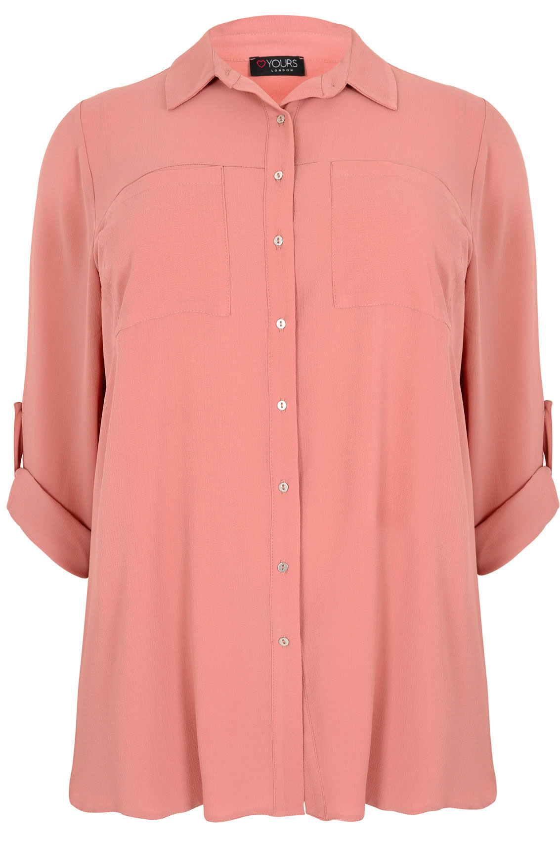 dusky pink button up crepe shirt with pockets split side
