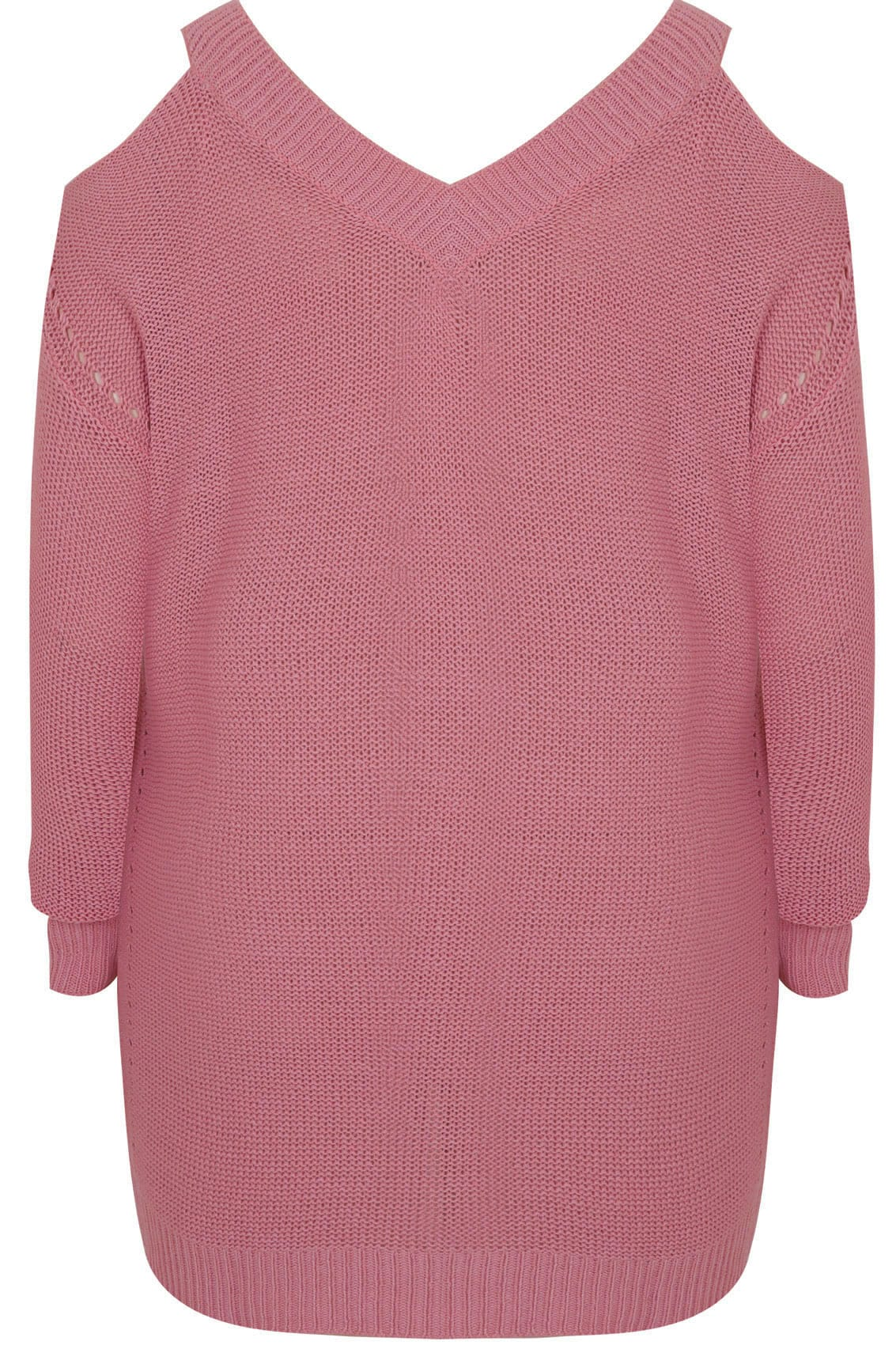Dusky Pink Knitted Cold Shoulder Jumper With Pointelle Detail ...