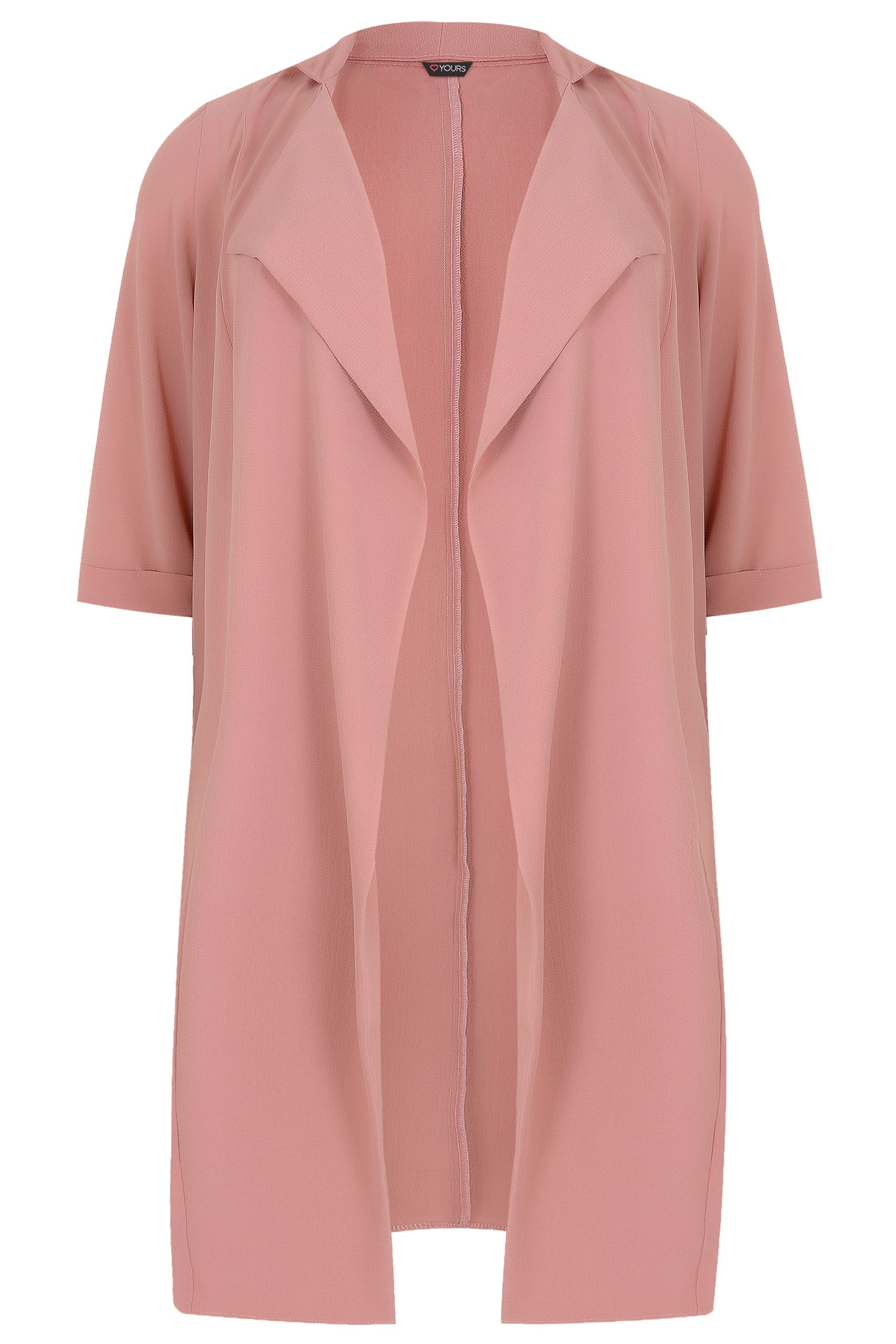 b85da0b968ad4 Dusky Pink Lightweight Duster Jacket With Waterfall Front