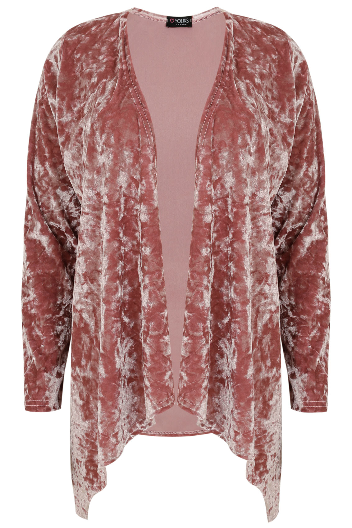 Dusty Pink Crushed Velvet Waterfall Cardigan Plus Size 16 to 36
