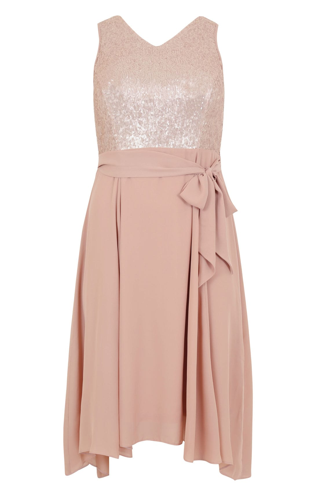 dusty pink midi dress with sequin bodice waist tie
