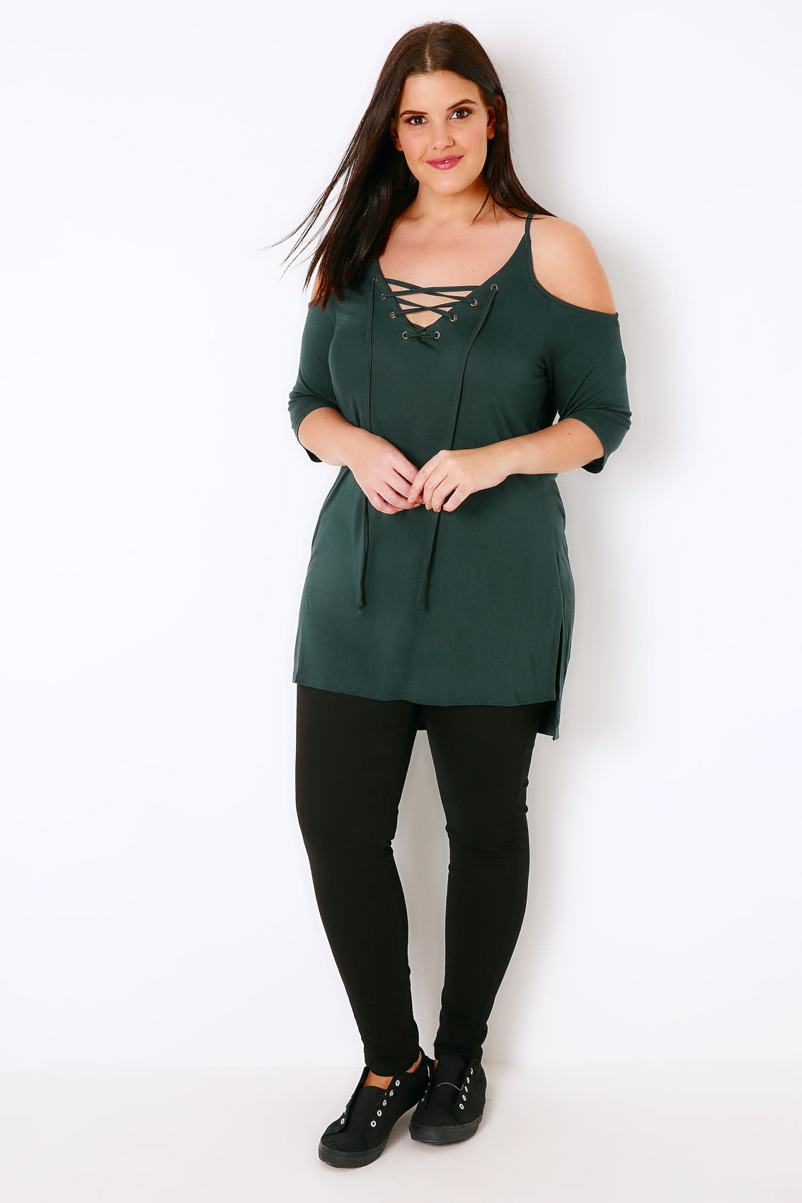 Forest Green Lace Up Top With Cold Shoulder Cut Outs, Plus ...