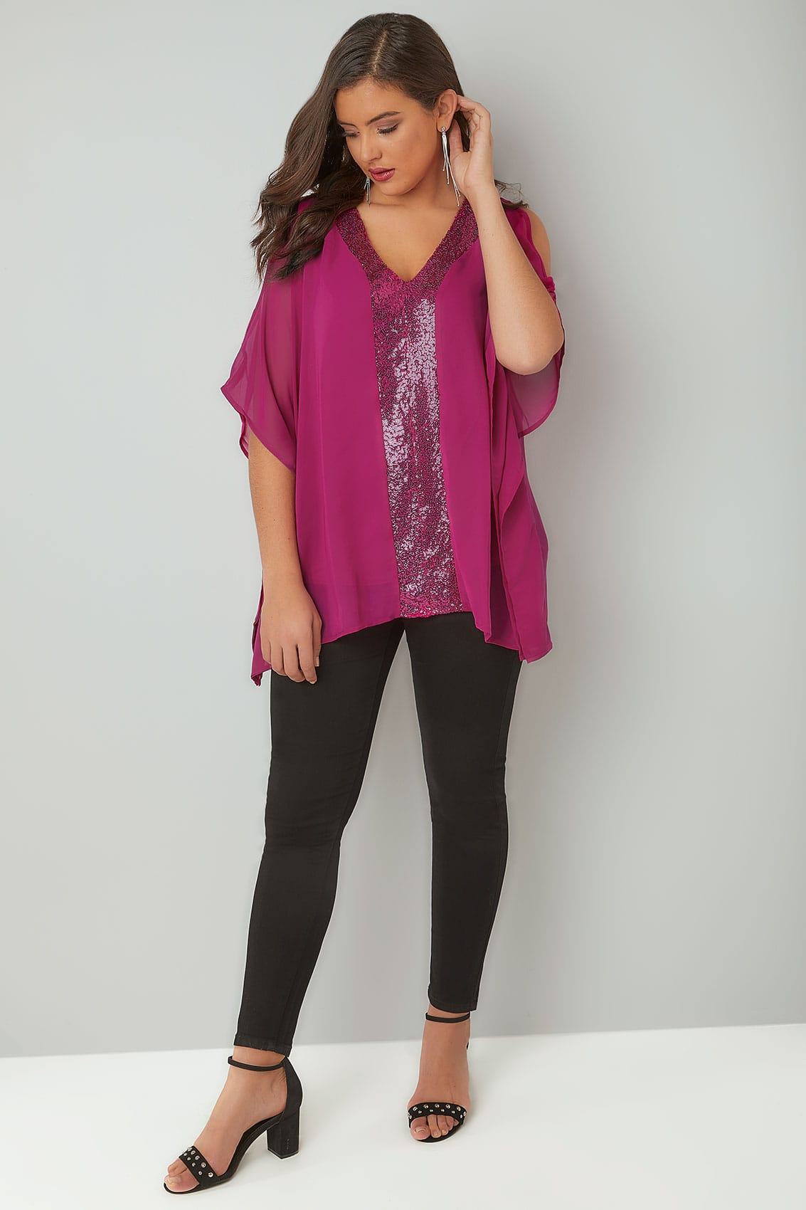 adb9be92c7e3dd YOURS LONDON Fuchsia Pink Sequin V-Neck Blouse With Cold Shoulders