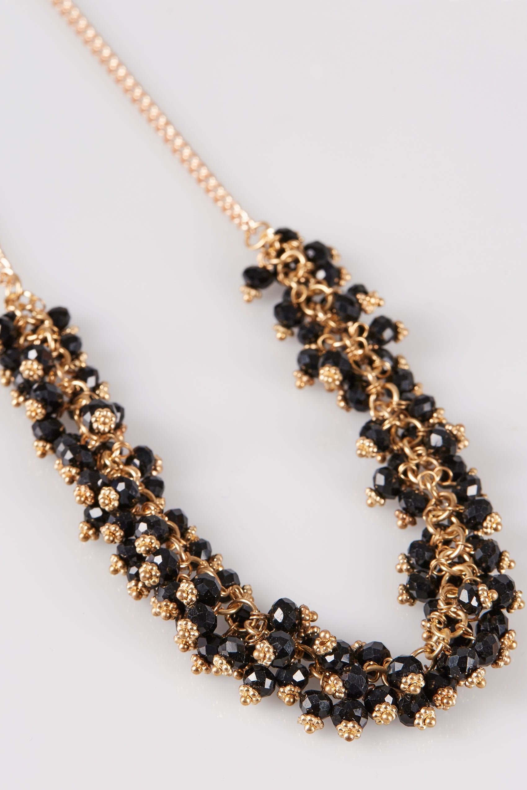 necklace beaded earrings gold p set black