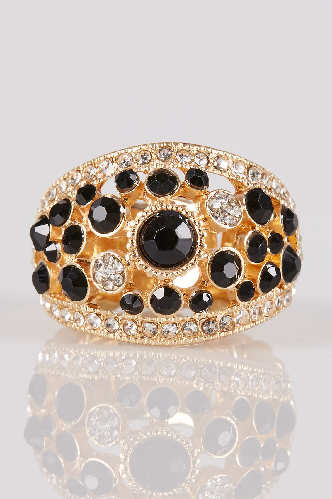 Gold Amp Black Diamante Stretch Ring