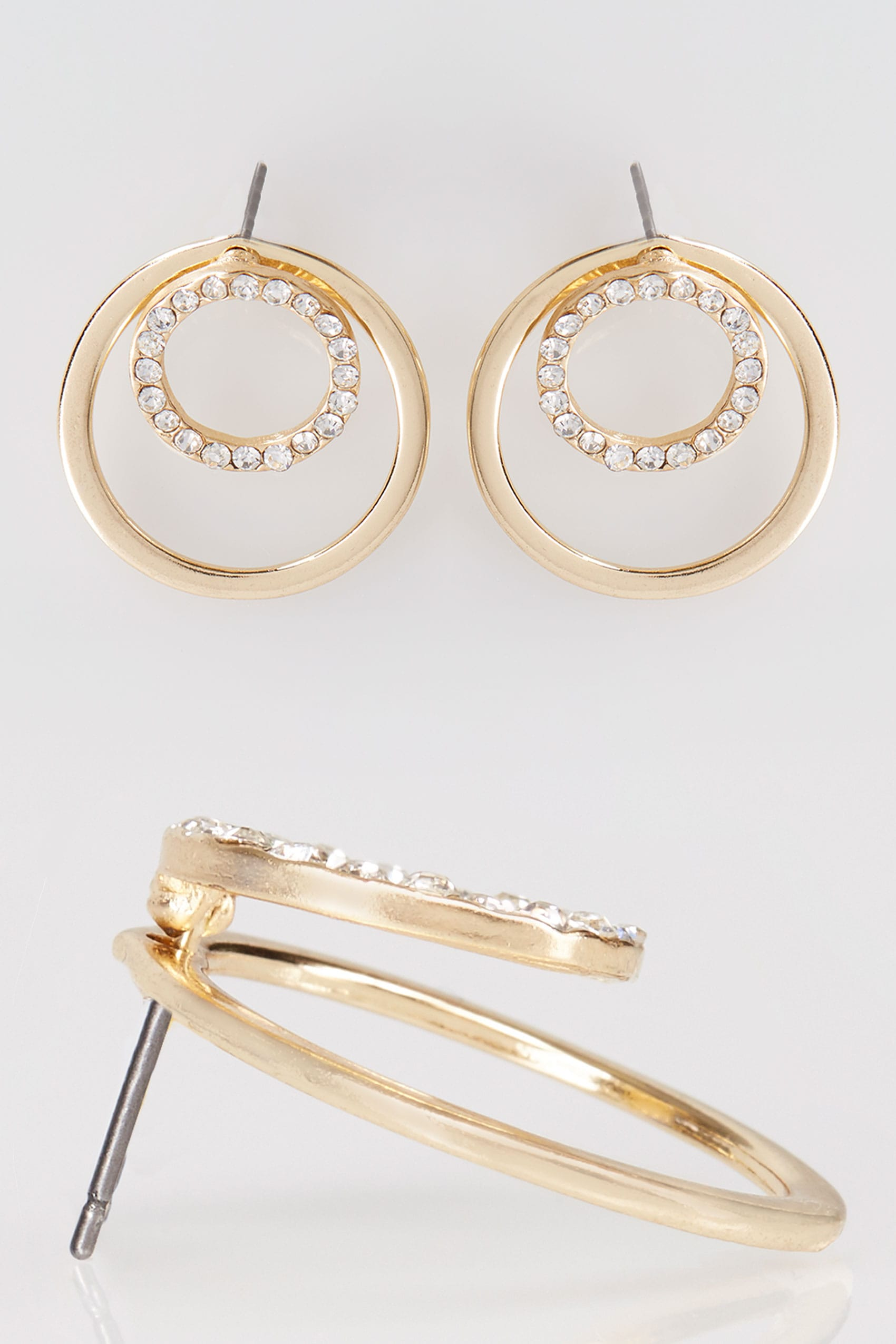 Gold diamante double circle earrings for Data item description template