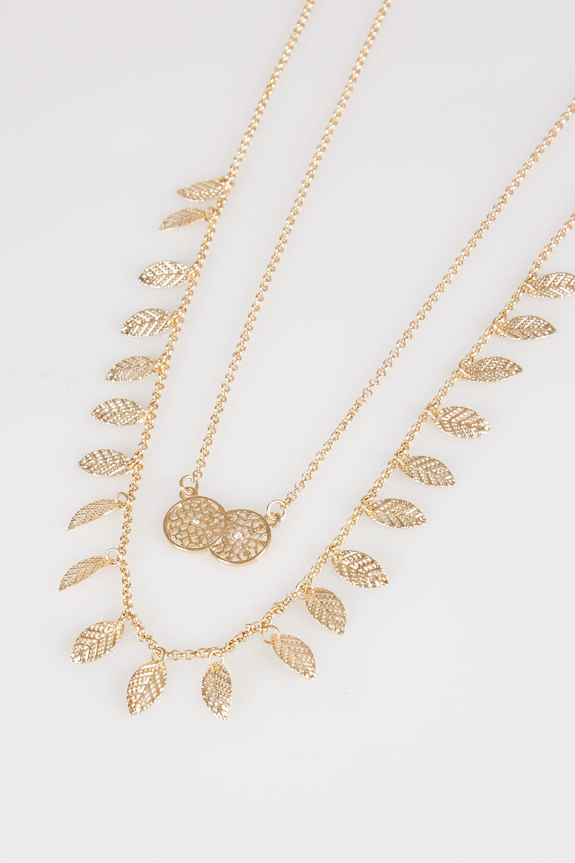 Gold double layer leaf circle pendant long necklace for Buy here pay later