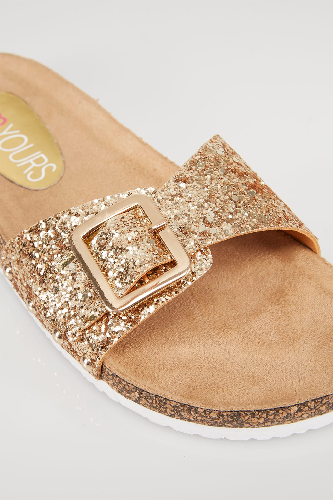 Gold Glitter Cork Effect Sandals In Eee Fit