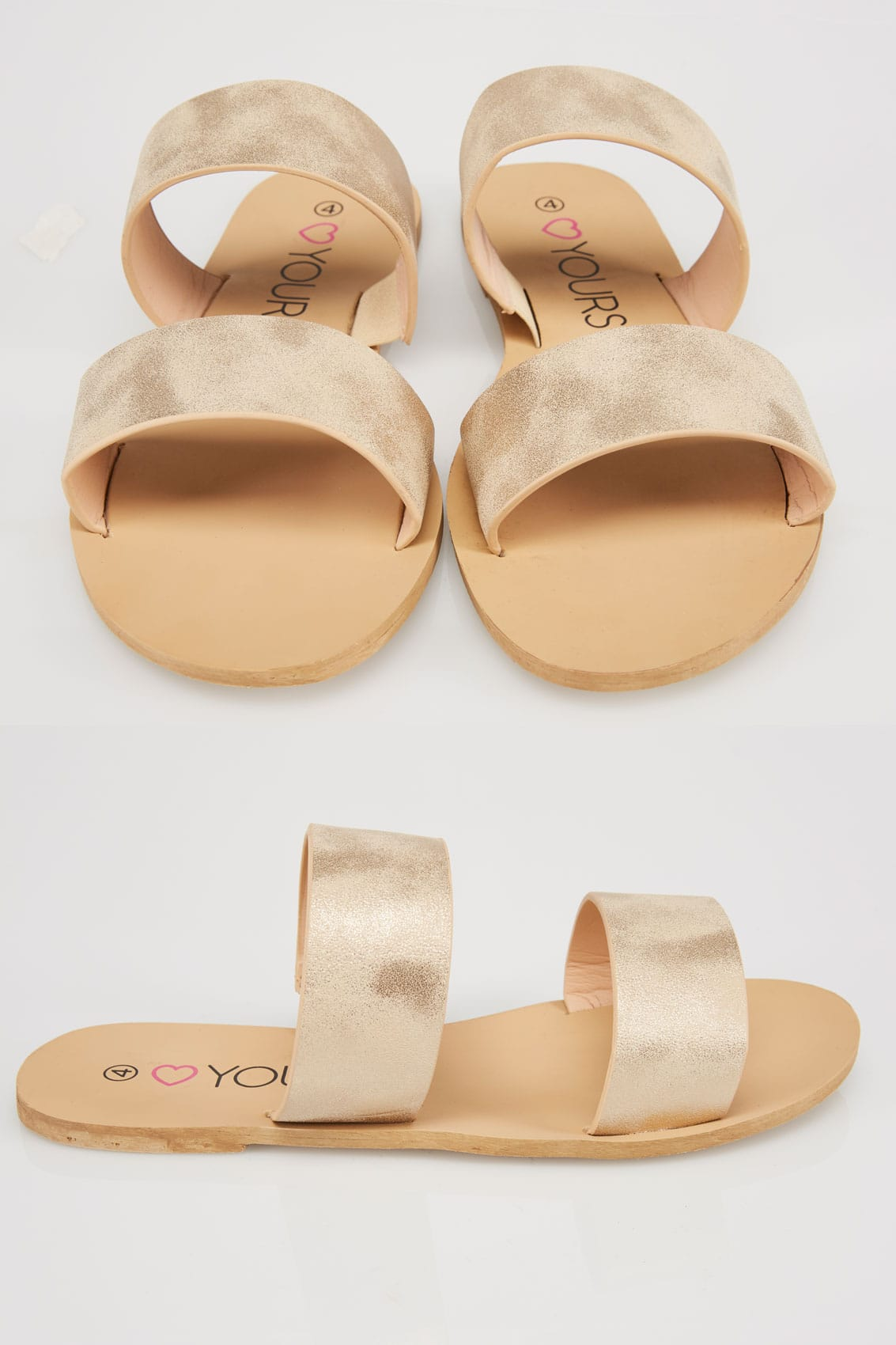 53d2e4076adc68 Gold Metallic Two Strap Slip On Flat Sandals In EEE Fit 4EEE