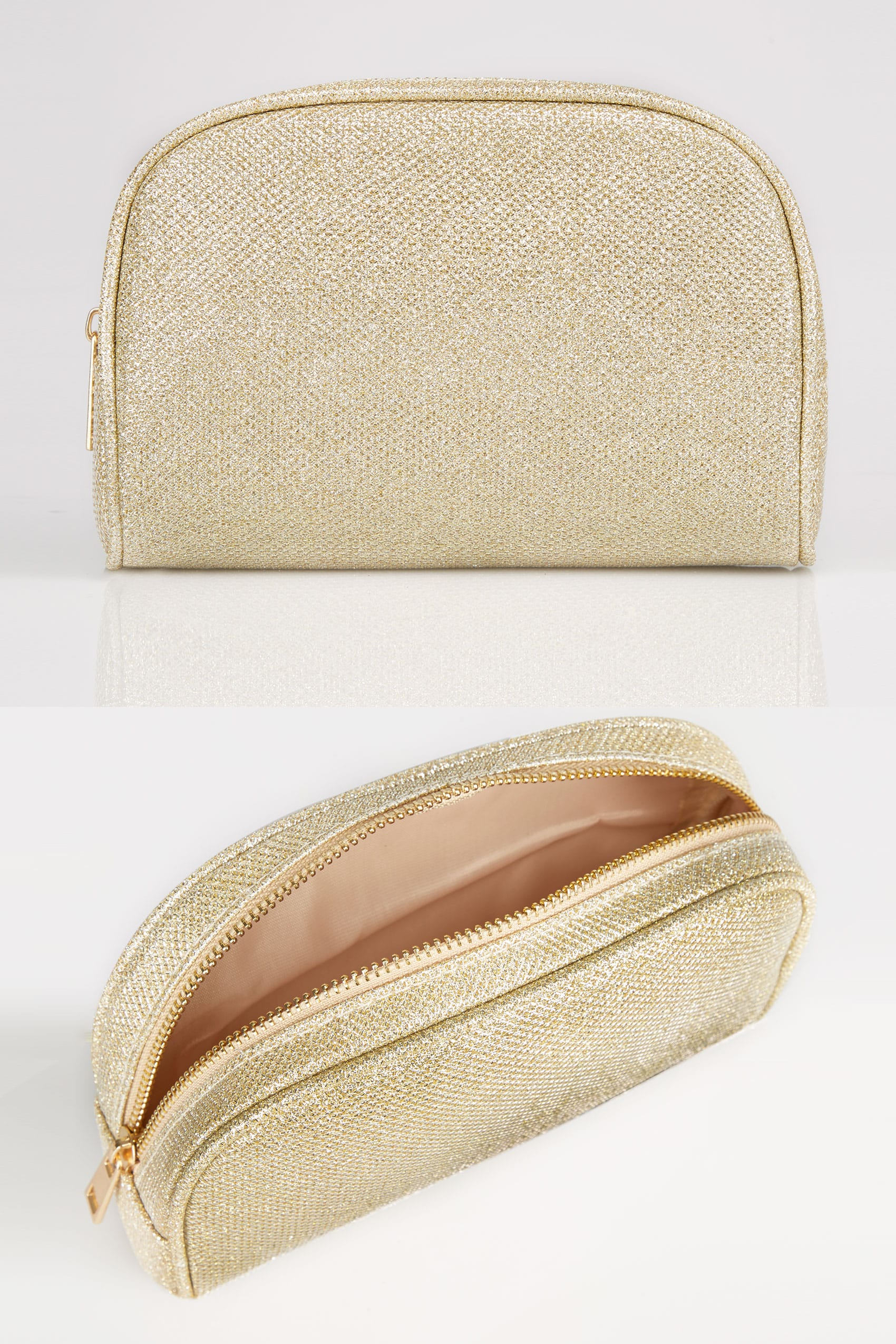 gold oval glitter make up bag with zip top. Black Bedroom Furniture Sets. Home Design Ideas