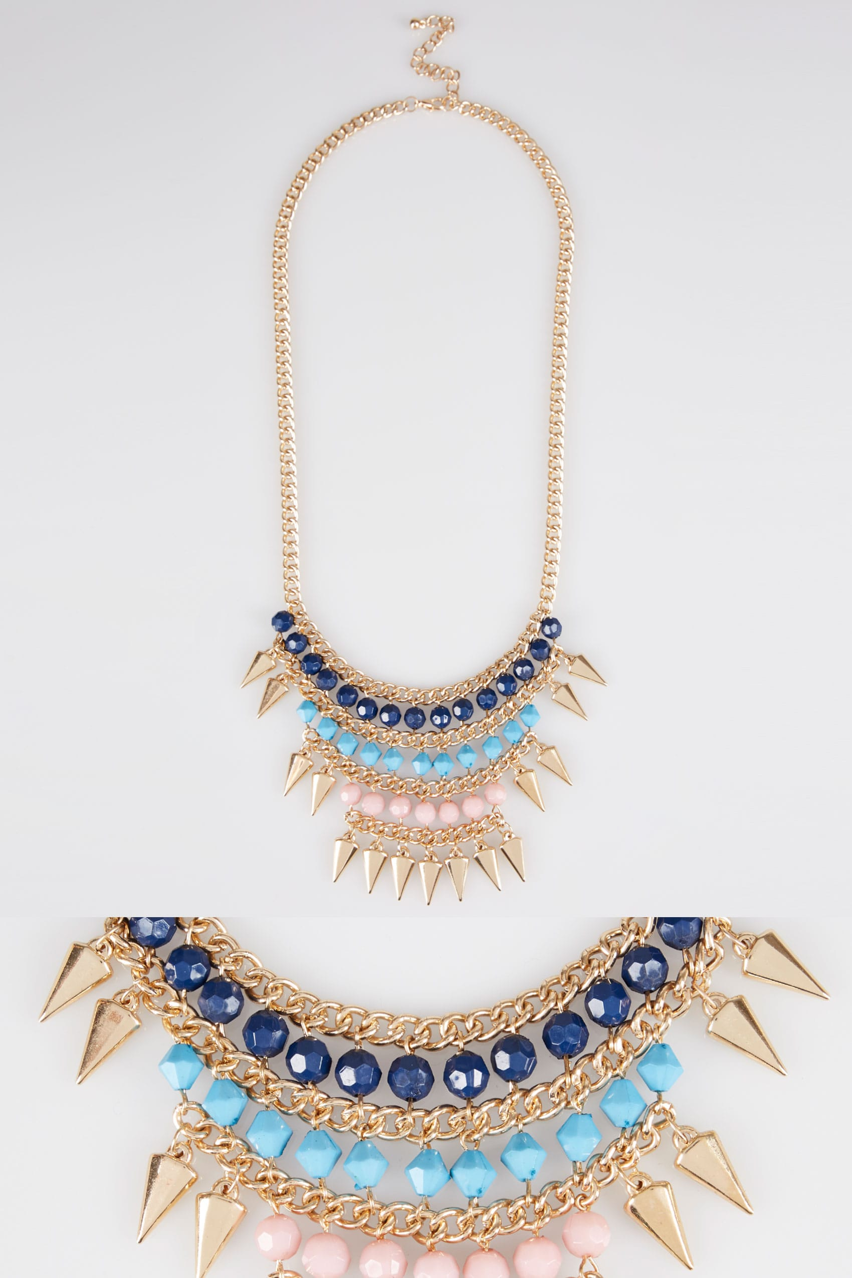 art crystal blue light deco necklace vintage icy gold statement