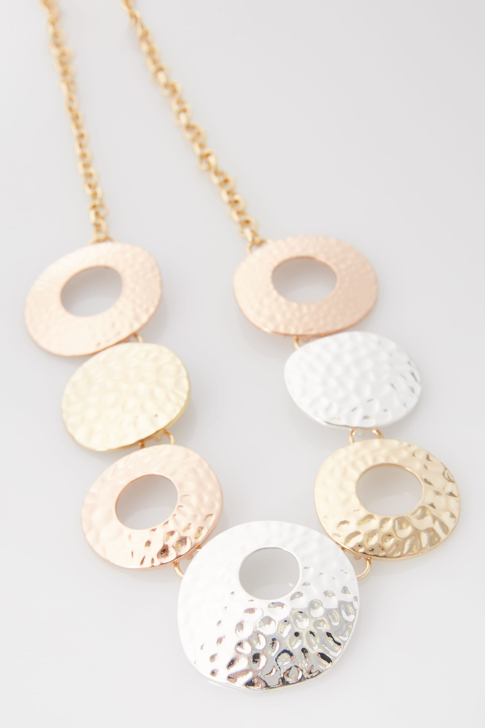 Gold silver hammered metal circle necklace for Buy here pay later