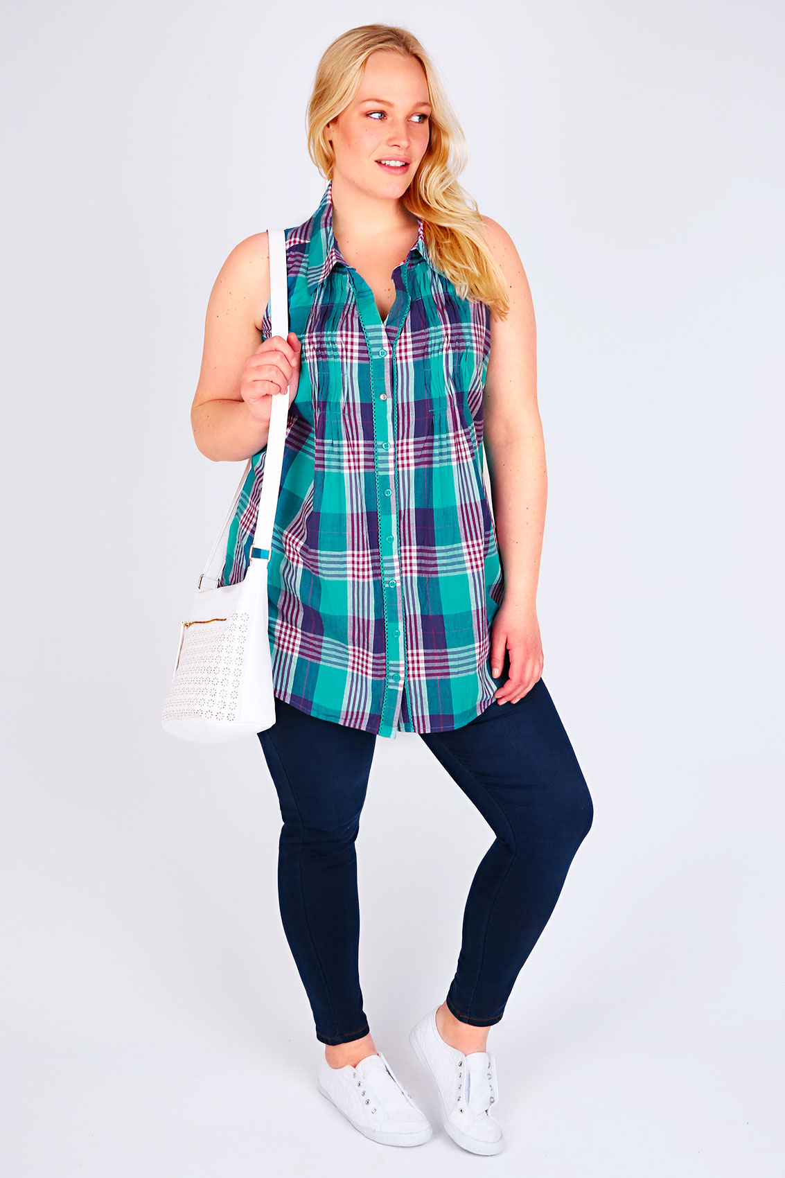 Green pink purple sleeveless checked shirt with pin for Tucked in shirt plus size