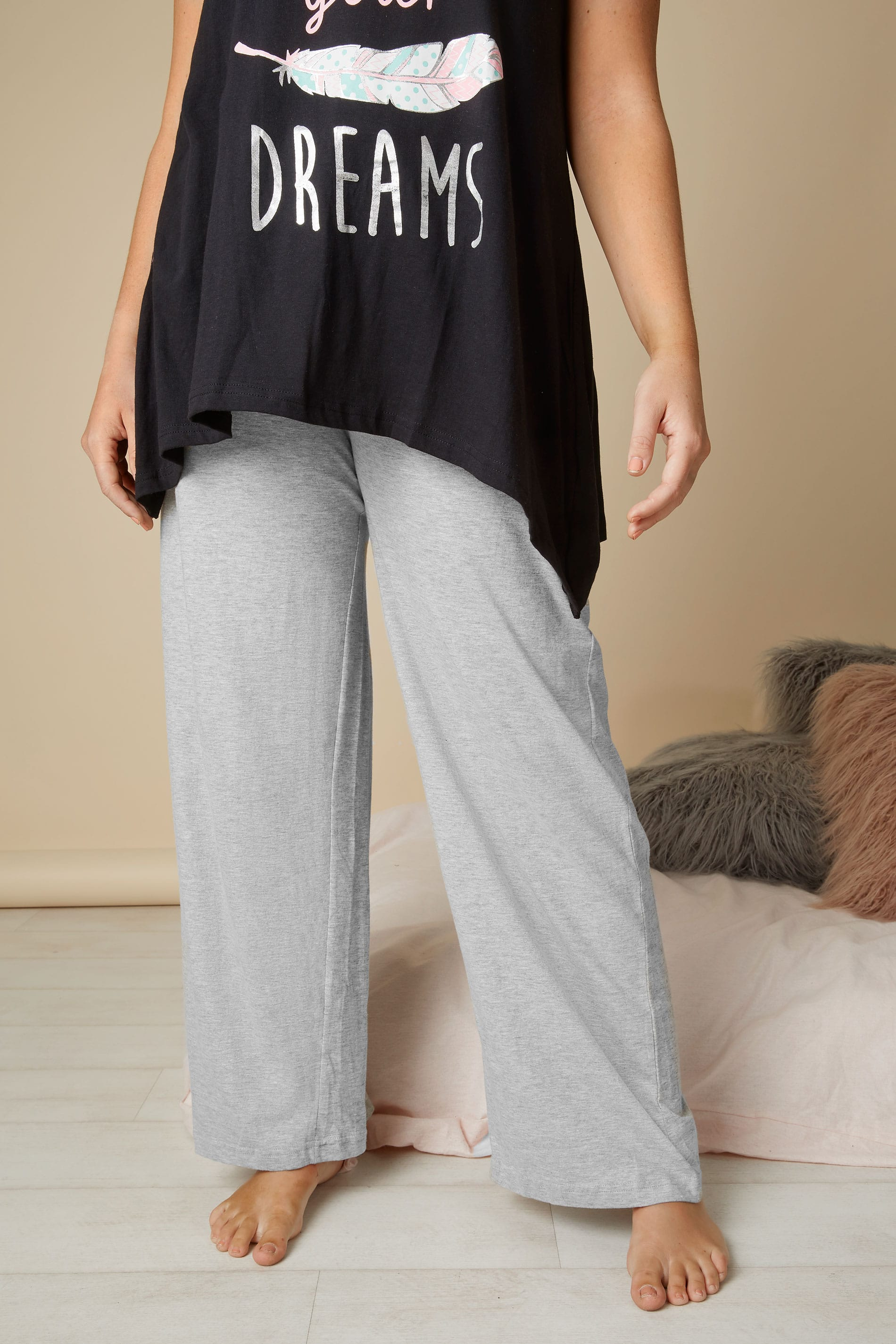 pantalon de pyjama gris en coton taille 44 60. Black Bedroom Furniture Sets. Home Design Ideas