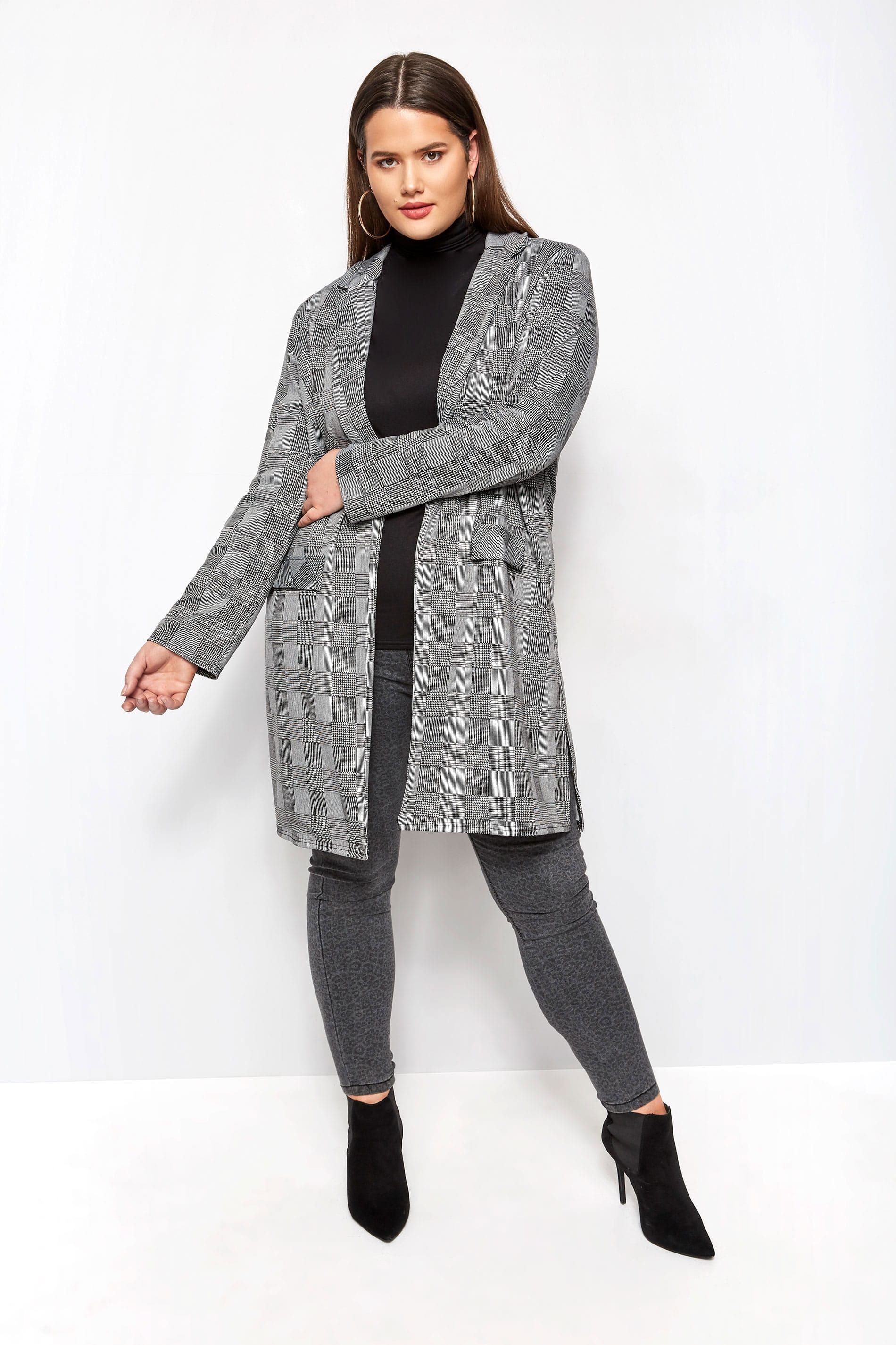 b2d1d31b56408 Black Dogtooth Check Longline Jacket, Plus size 16 to 32