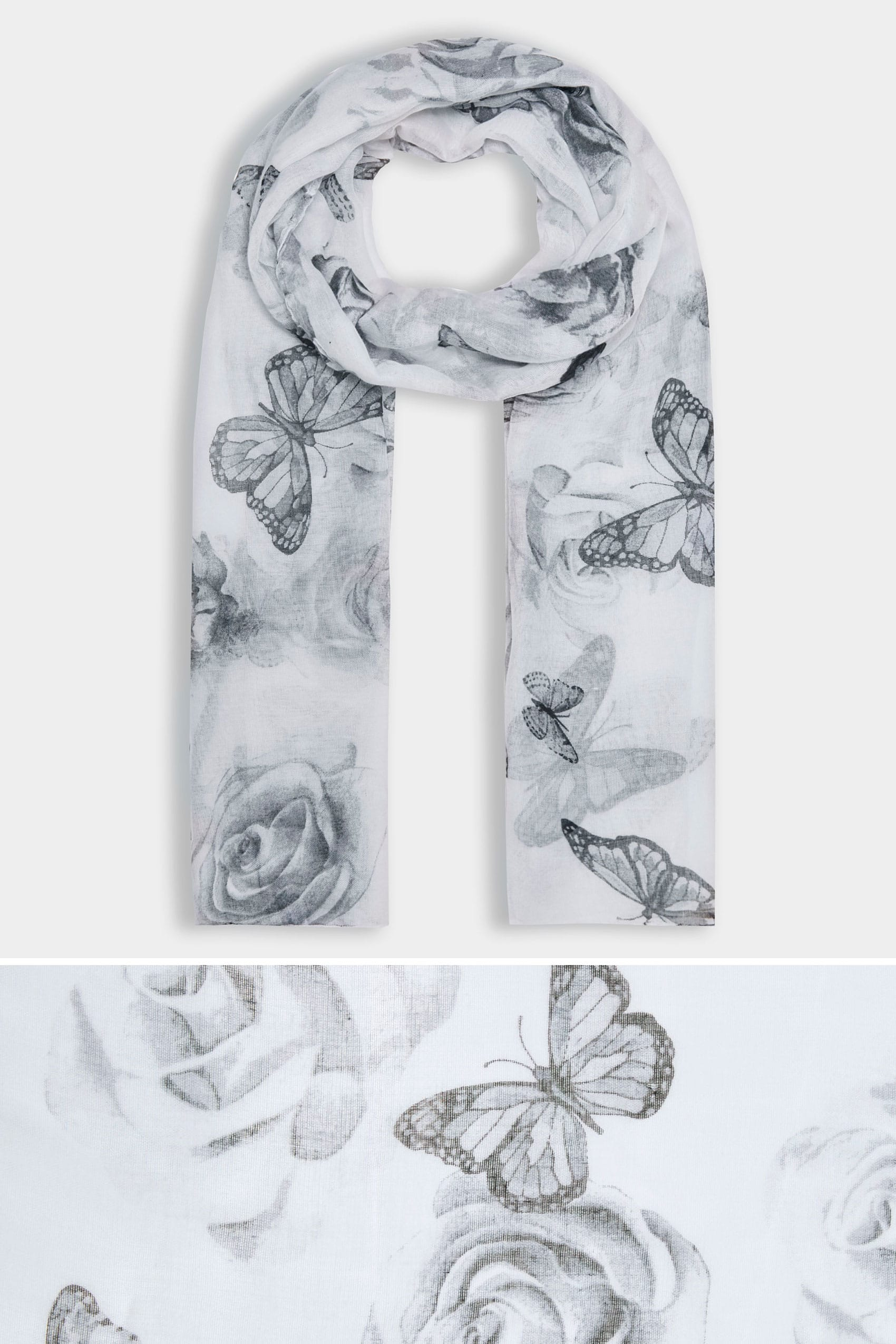 Grey butterfly print scarf for Buy here pay later