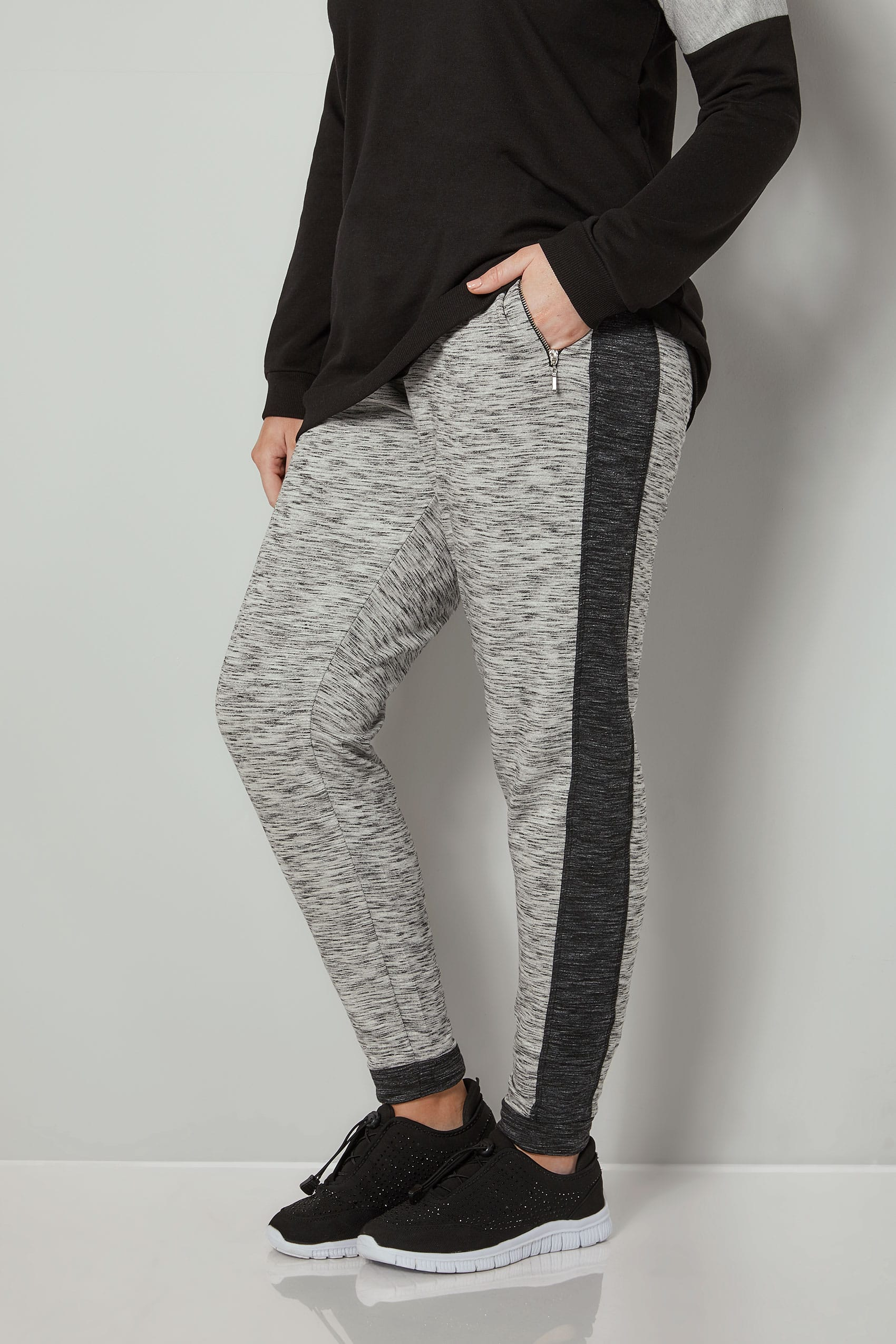 Grey colourblock joggers with zip pockets plus size 16 to 36 for Buy here pay later