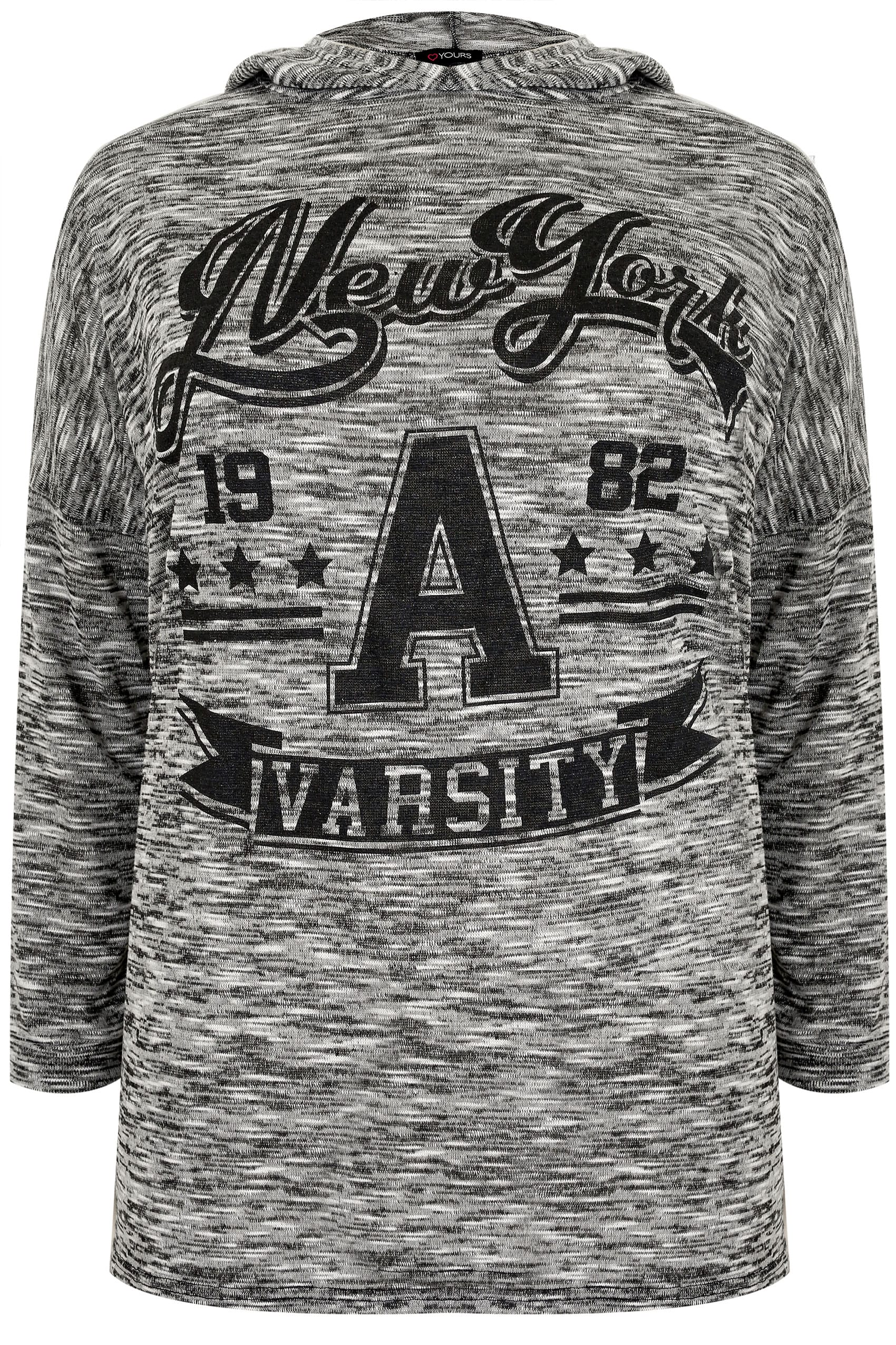 countries with 7 letters in name grauer quot new york varsity quot feinstrickpullover mit kapuze 26961 | Grey Fine Knit New York Varsity Hooded Jumper 132455 ff67