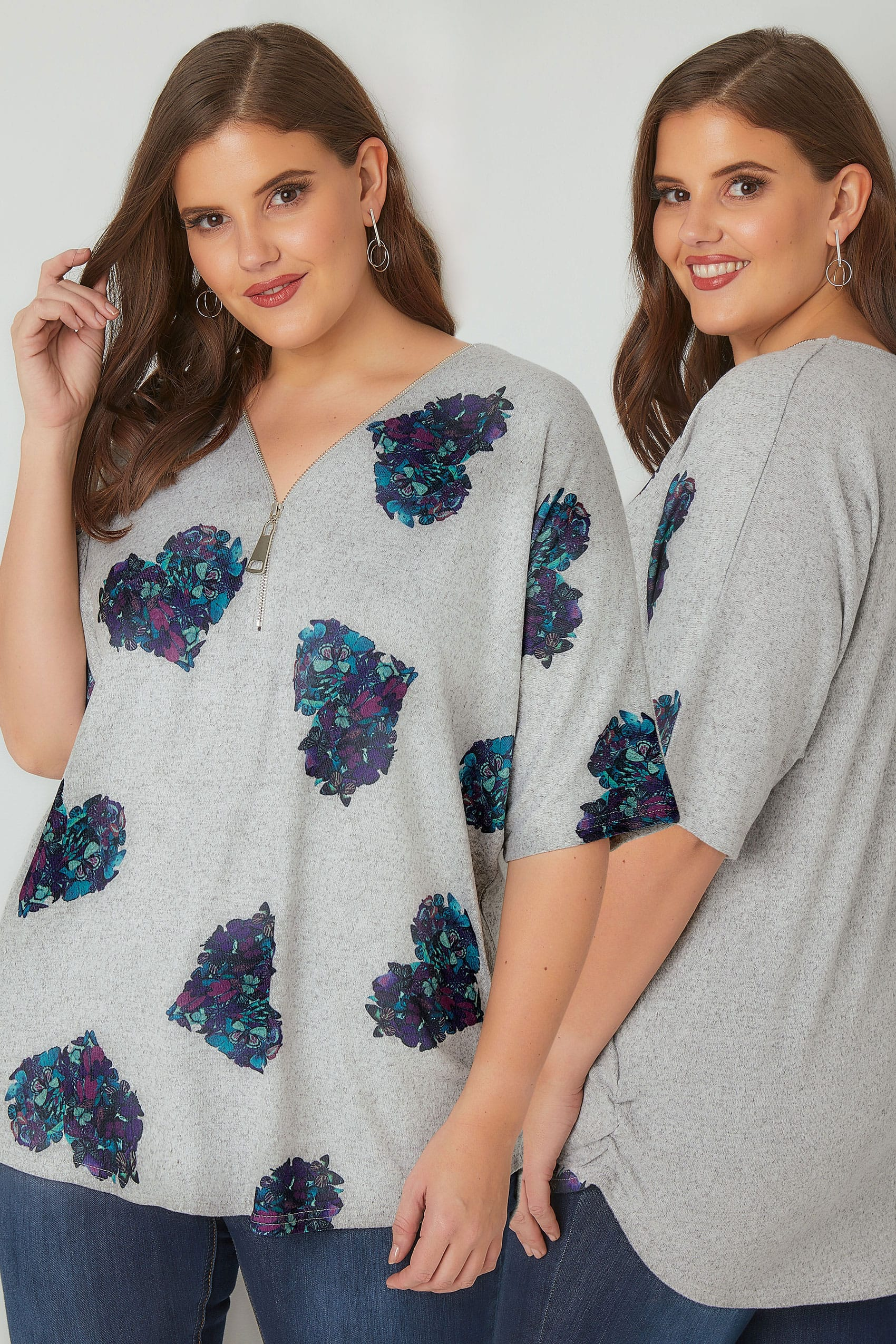 grey floral love heart print top with zip front plus size 16 to 36. Black Bedroom Furniture Sets. Home Design Ideas