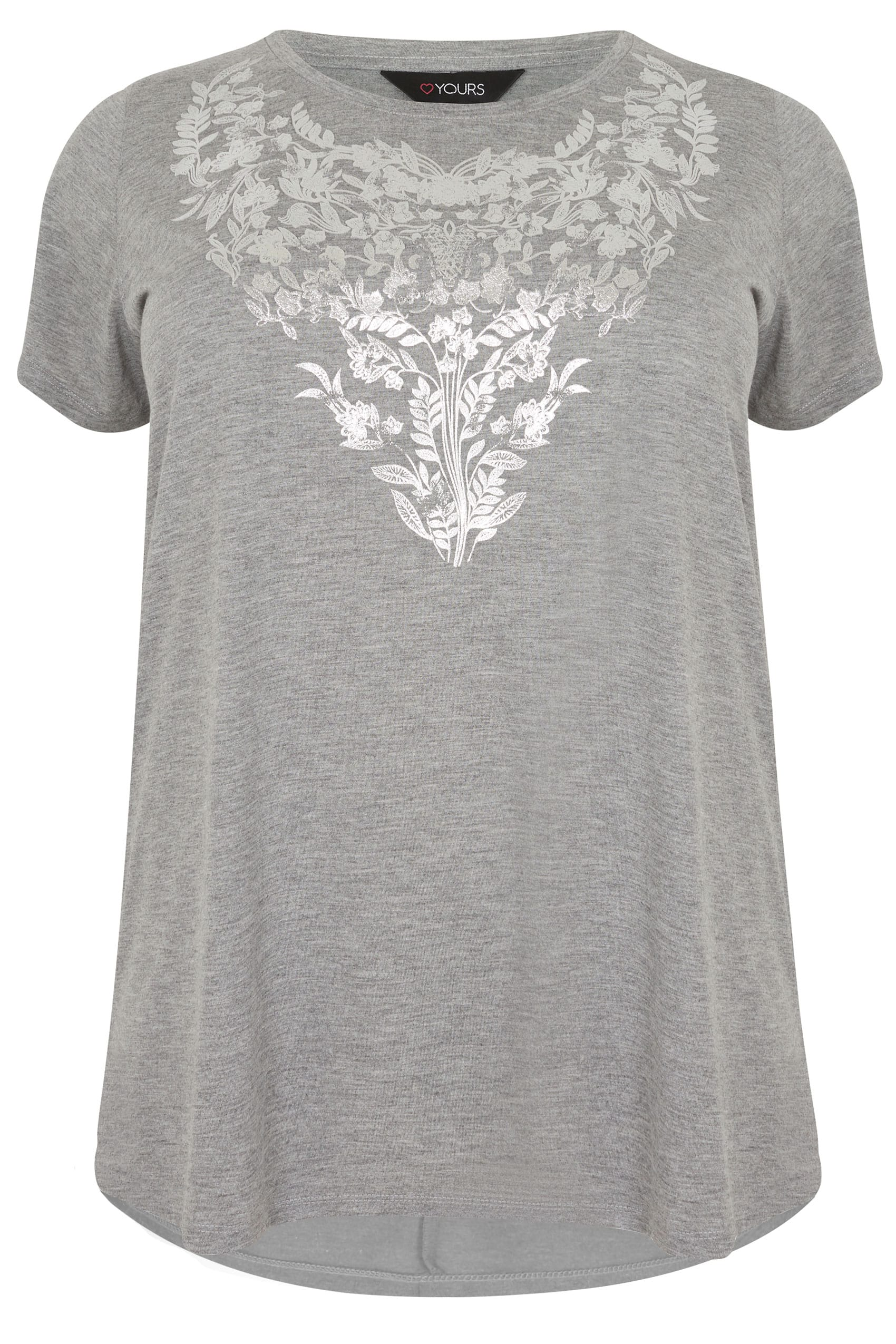 Grey floral print t shirt with foil finish curved hem for Quick print t shirts
