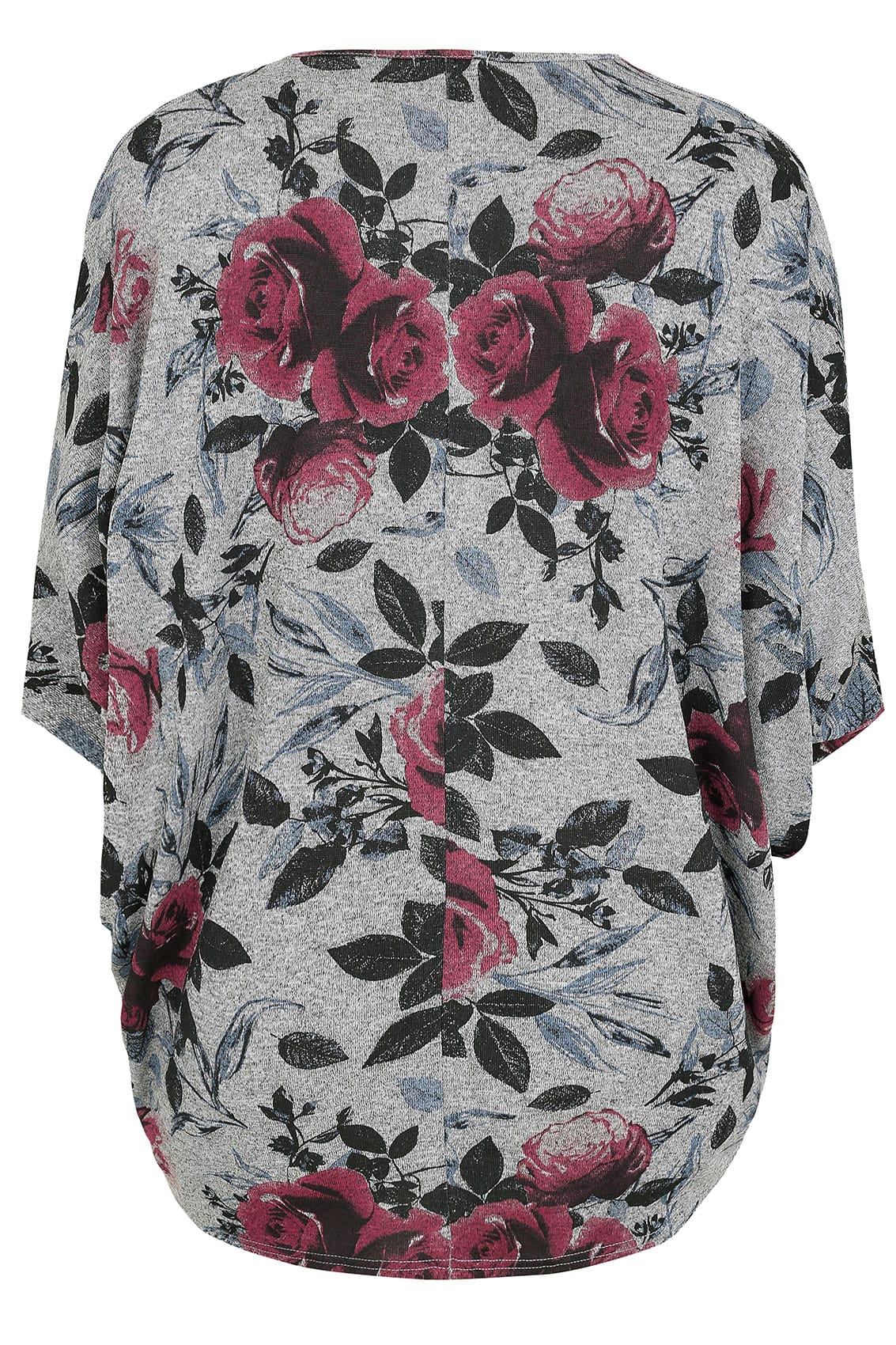 grey floral print v neck longline top with batwing sleeves plus size 16 to 36. Black Bedroom Furniture Sets. Home Design Ideas