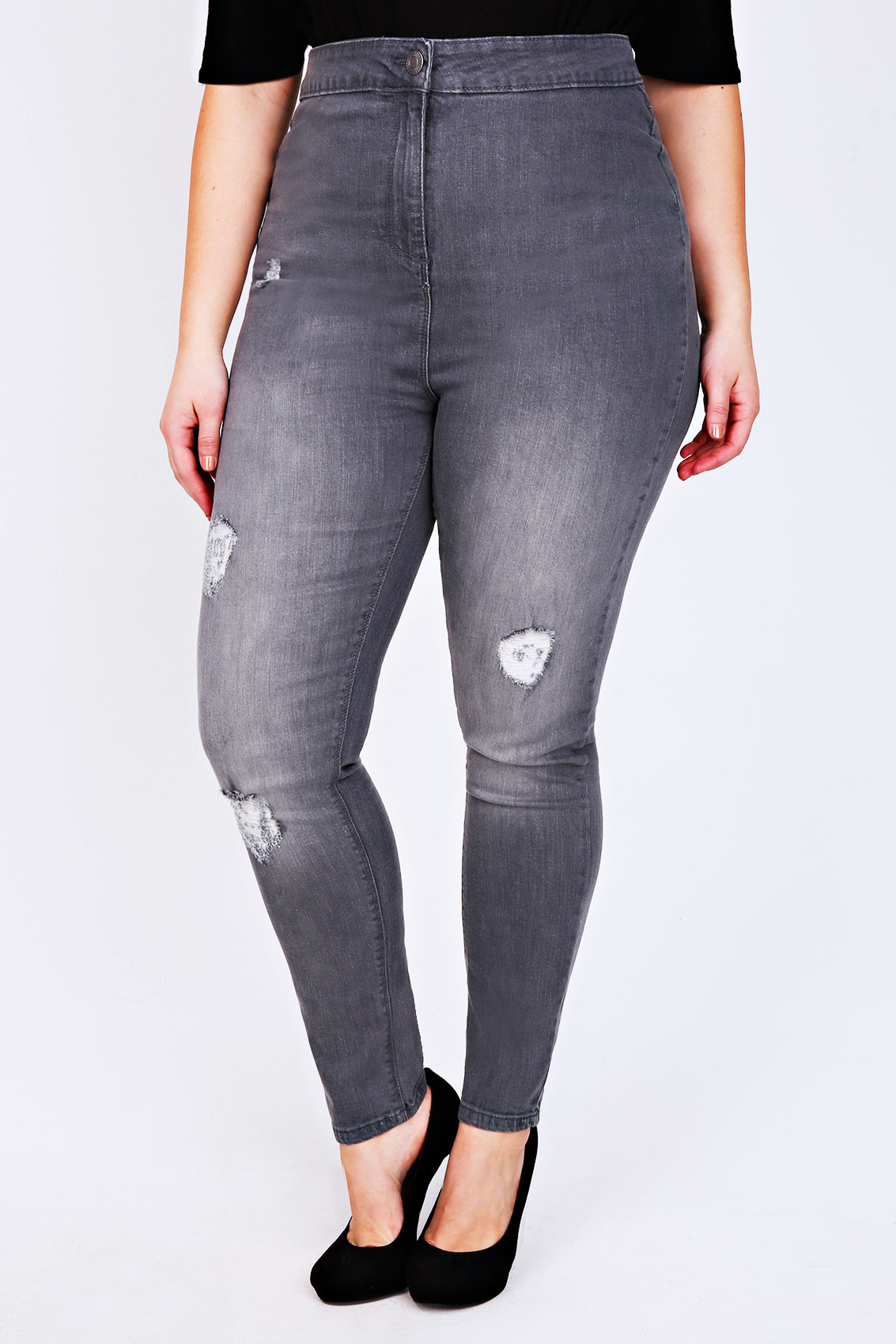 Super High Waisted Stretchy Skinny Jeans in Light Gray (Plus Sizes Available) 1 Verified Buyer. Regular Price: -Waist 12 inches (not stretched)-Inseam 30 inches-Length 41 inches Love the high waist! Color was true to the picture. Size chart was spot on.