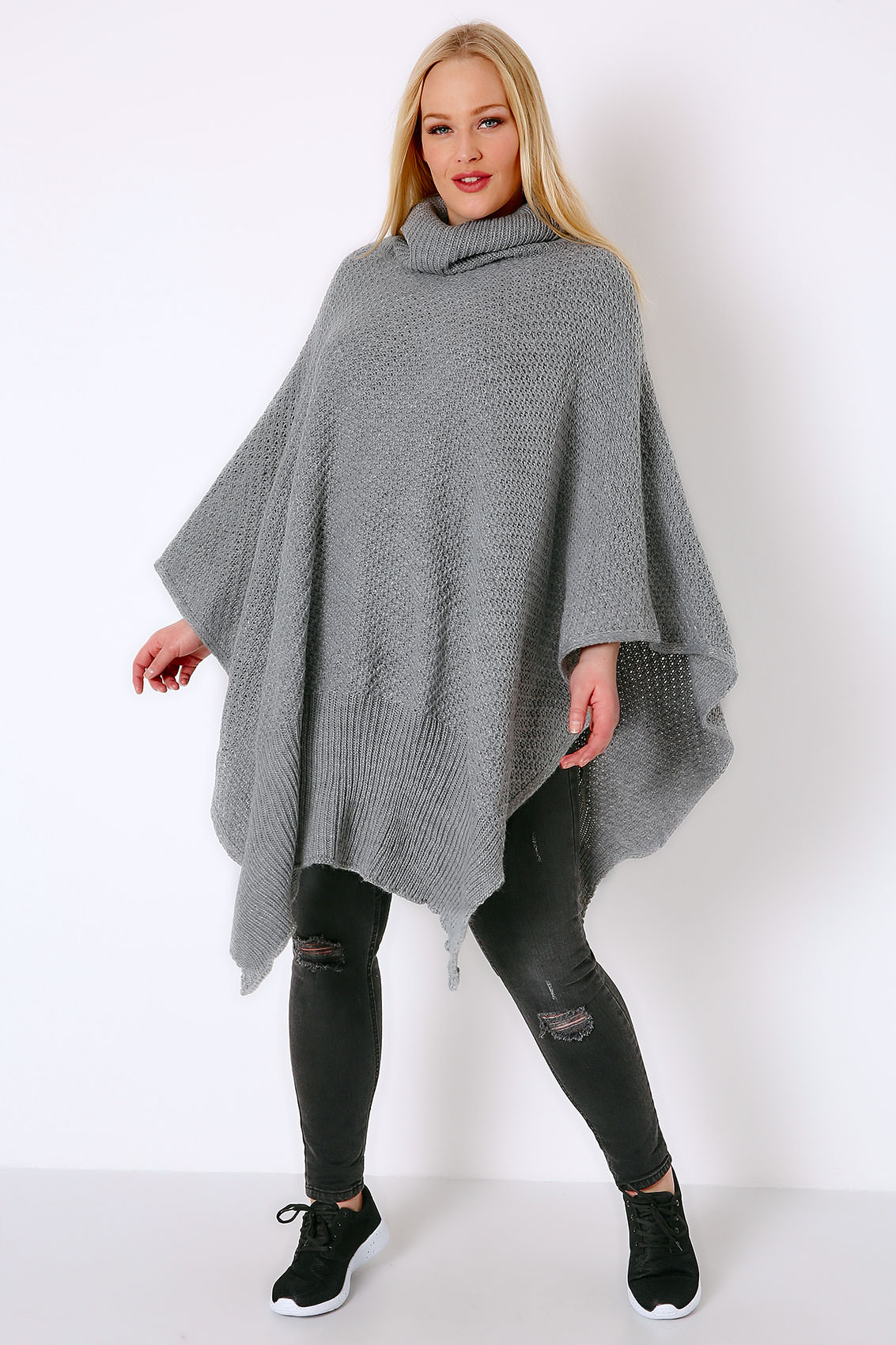 Cowl Neck Poncho Knitting Pattern : Grey Knitted Cowl Neck Poncho, One size