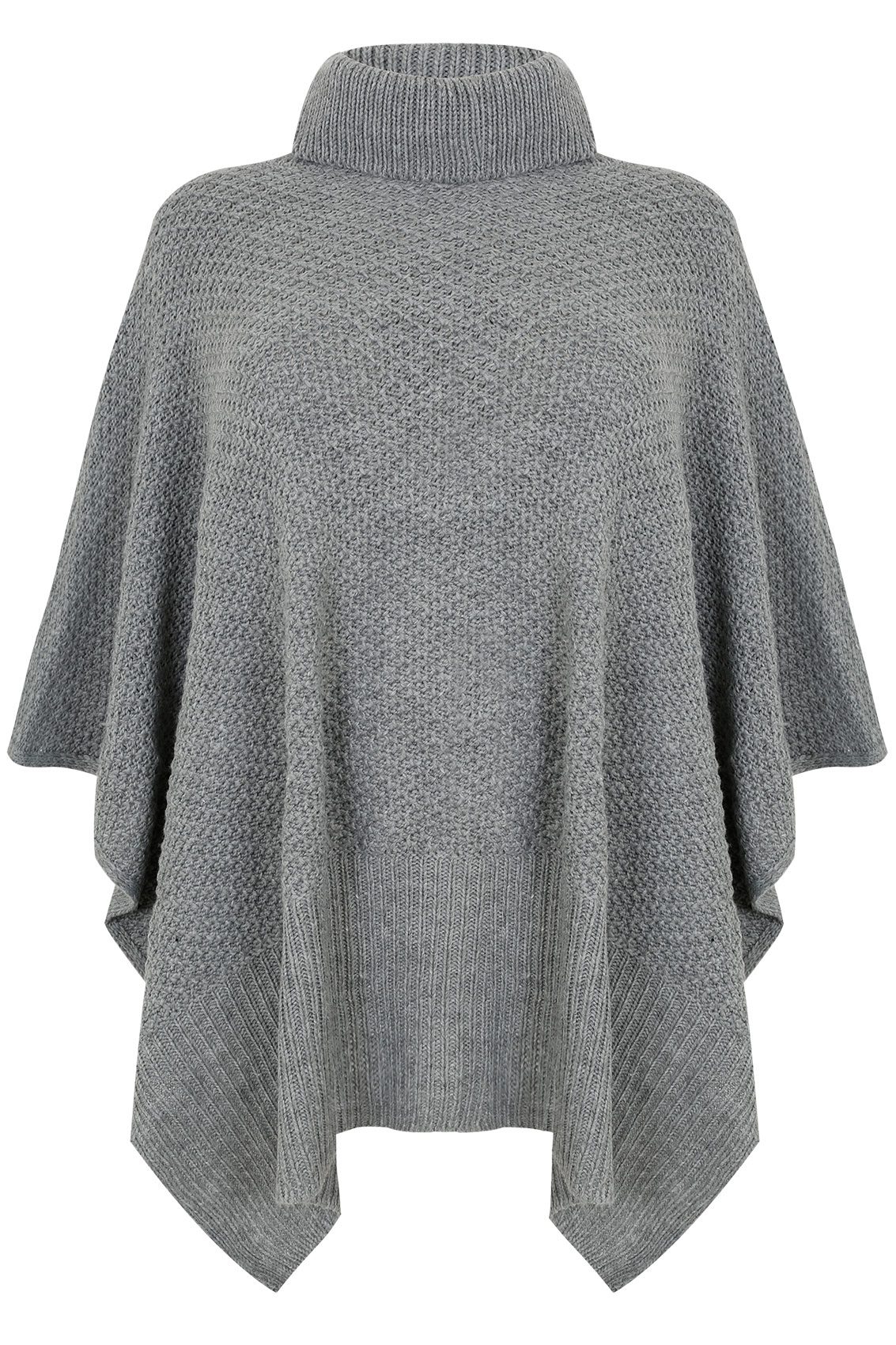 Grey Knitted Cowl Neck Poncho, One size