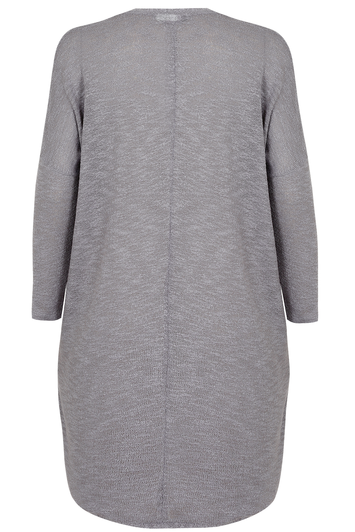 Grey Knitted Longline Cocoon Cardigan With Drop Shoulder Sleeves ...